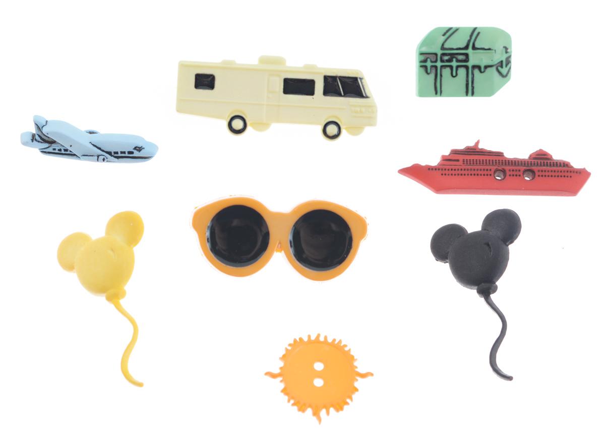 Набор пуговиц и фигурок Buttons Galore & More Magical Get Away, 8 шт7708807Набор Buttons Galore & More Magical Get Away состоит из 6 декоративных пуговиц на ножке и 2 декоративных пуговиц с отверстиями. Все элементы выполнены из пластика в виде транспорта, солнечных очков и шаров. Такой набор подходит для любых видов творчества: скрапбукинга, декорирования, шитья, изготовления кукол, а также для оформления одежды. С их помощью вы сможете украсить открытку, фотографию, альбом, подарок и другие предметы ручной работы. Все элементы выполнены в разных цветах и формах, имеют оригинальный и яркий дизайн. Средний размер элементов: 2,3 см х 1,5 см х 0,3 см.