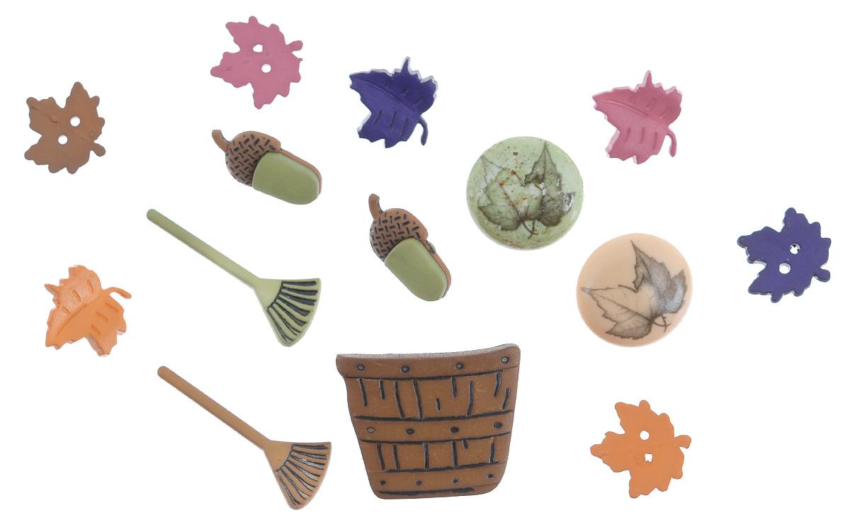 Набор пуговиц и фигурок Buttons Galore & More Raking Leaves, 13 шт7705934Набор Buttons Galore & More Raking Leaves состоит из 8 декоративных пуговиц на ножке, 3 декоративных пуговиц с отверстиями и 2 декоративных элементов, которые можно приклеить. Все элементы выполнены из пластика в виде листьев и желудей. Такой набор подходит для любых видов творчества: скрапбукинга, декорирования, шитья, изготовления кукол, а также для оформления одежды. С их помощью вы сможете украсить открытку, фотографию, альбом, подарок и другие предметы ручной работы. Все элементы выполнены в разных цветах и формах, имеют оригинальный и яркий дизайн. Средний размер элементов: 1,7 см х 1,6 см х 0,2 см.