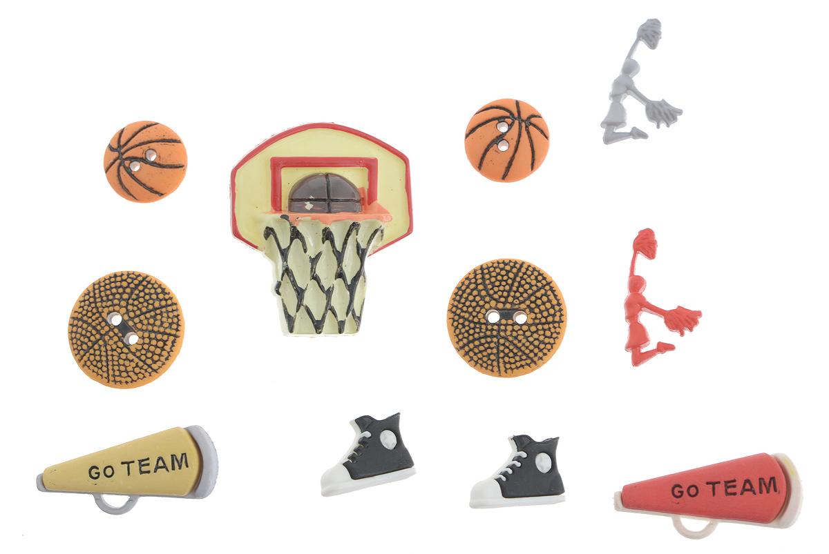 Набор пуговиц и фигурок Buttons Galore & More Buttons Galore, 11 шт7708759Набор Buttons Galore & More Buttons Galore состоит из 5 декоративных пуговиц на ножке, 4 декоративных пуговиц с отверстиями и 2 декоративных элементов, которые можно приклеить. Все элементы выполнены из пластика в виде кед, баскетбольной корзины и мячей. Такой набор подходит для любых видов творчества: скрапбукинга, декорирования, шитья, изготовления кукол, а также для оформления одежды. С их помощью вы сможете украсить открытку, фотографию, альбом, подарок и другие предметы ручной работы. Все элементы выполнены в разных цветах и формах, имеют оригинальный и яркий дизайн. Средний размер элементов: 1,7 см х 1,2 см х 1 см.