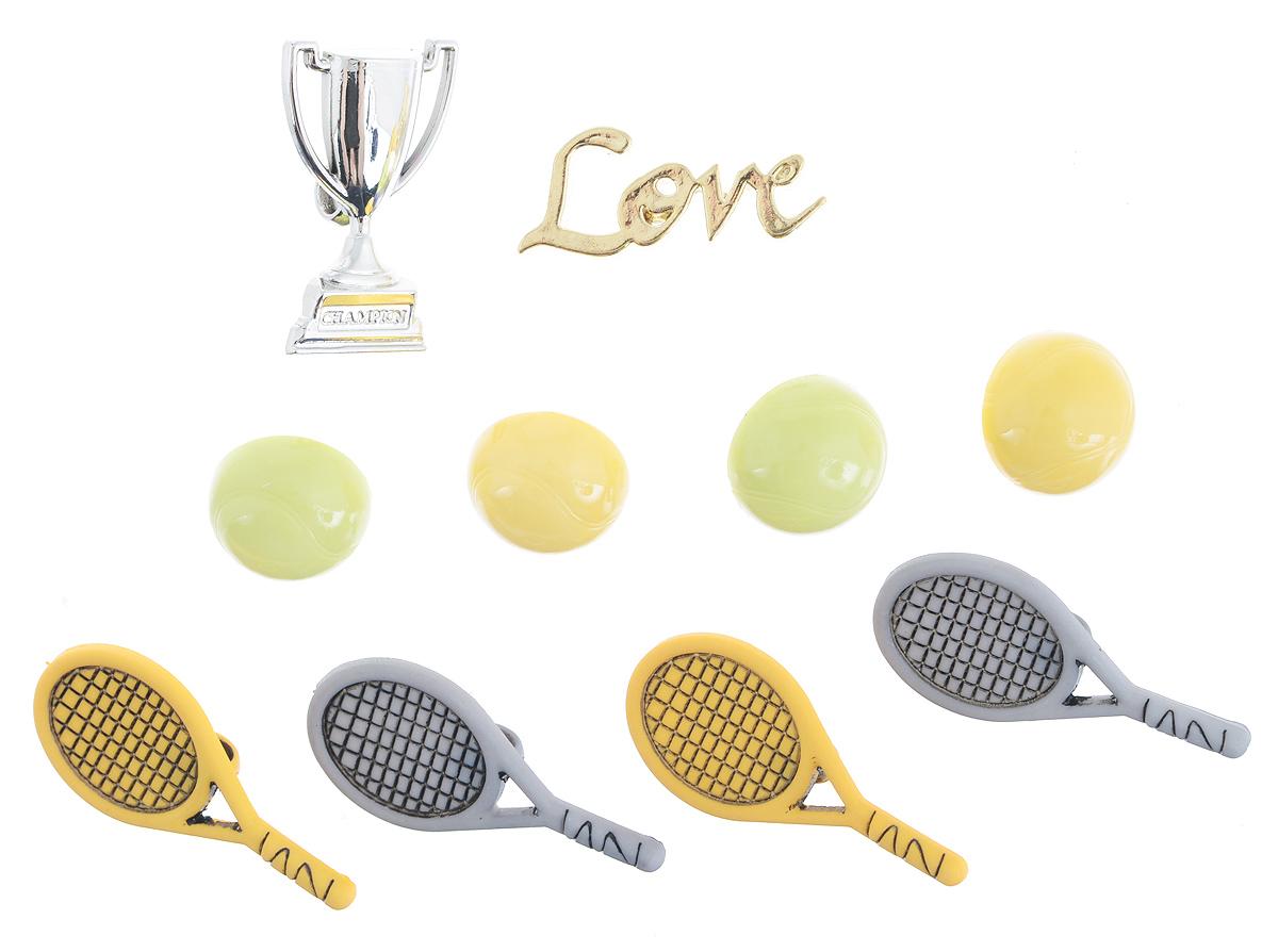 Набор пуговиц и фигурок Buttons Galore & More Tennis, 10 шт7705916Набор Buttons Galore & More Tennis состоит из 9 декоративных пуговиц на ножке и 1 декоративного элемента, который можно приклеить. Все элементы выполнены из пластика в виде теннисных мячей и ракеток. Такой набор подходит для любых видов творчества: скрапбукинга, декорирования, шитья, изготовления кукол, а также для оформления одежды. С их помощью вы сможете украсить открытку, фотографию, альбом, подарок и другие предметы ручной работы. Все элементы выполнены в разных цветах и формах, имеют оригинальный и яркий дизайн. Средний размер элементов: 2,3 см х 1,5 см.
