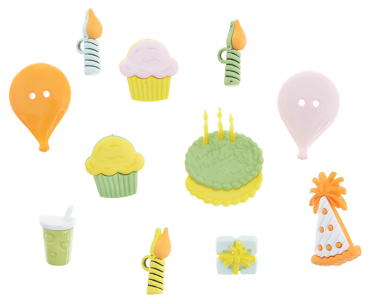 Набор пуговиц и фигурок Buttons Galore & More Happy Birthday, 11 шт7705927Набор Buttons Galore & More Happy Birthday состоит из 8 декоративных пуговиц на ножке, 2 декоративных пуговиц с отверстиями и 1 декоративного элемента, который можно приклеить. Все элементы выполнены из пластика в виде пирожных, шариков, торта. Такой набор подходит для любых видов творчества: скрапбукинга, декорирования, шитья, изготовления кукол, а также для оформления одежды. С их помощью вы сможете украсить открытку, фотографию, альбом, подарок и другие предметы ручной работы. Все элементы выполнены в разных цветах и формах, имеют оригинальный и яркий дизайн. Средний размер элементов: 2,3 см х 1,5 см х 0,3 см.