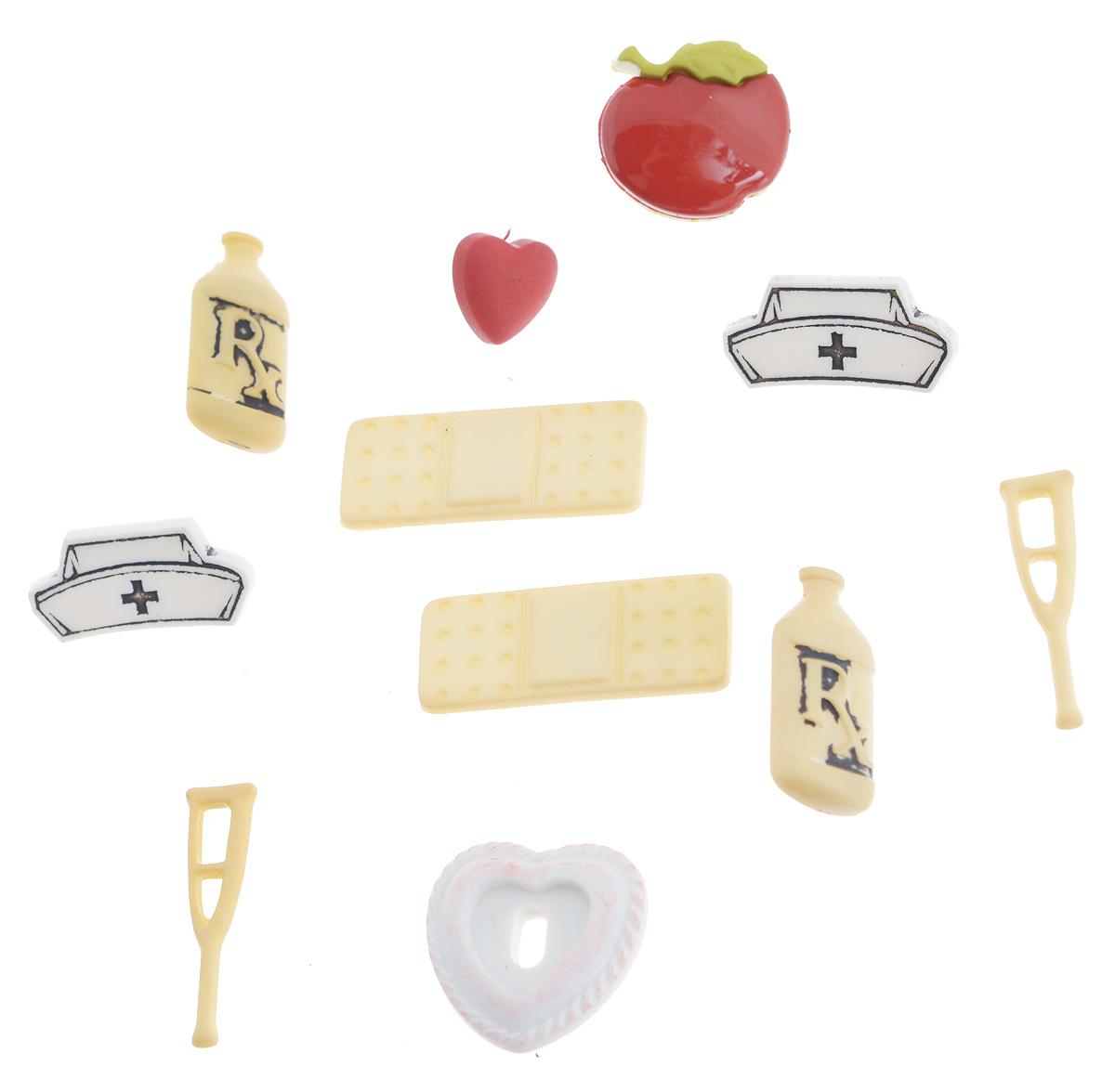Набор пуговиц и фигурок Buttons Galore & More Doctor, 11 шт7705878_4101Набор Buttons Galore & More Doctor состоит из 6 декоративных пуговиц на ножке и 5 декоративных элементов, которые можно приклеить. Все элементы выполнены из пластика в виде микстуры, костылей и сердец. Такой набор подходит для любых видов творчества: скрапбукинга, декорирования, шитья, изготовления кукол, а также для оформления одежды. С их помощью вы сможете украсить открытку, фотографию, альбом, подарок и другие предметы ручной работы. Все элементы выполнены в разных цветах и формах, имеют оригинальный и яркий дизайн. Средний размер элементов: 2 см х 1,2 х 0,3 см.