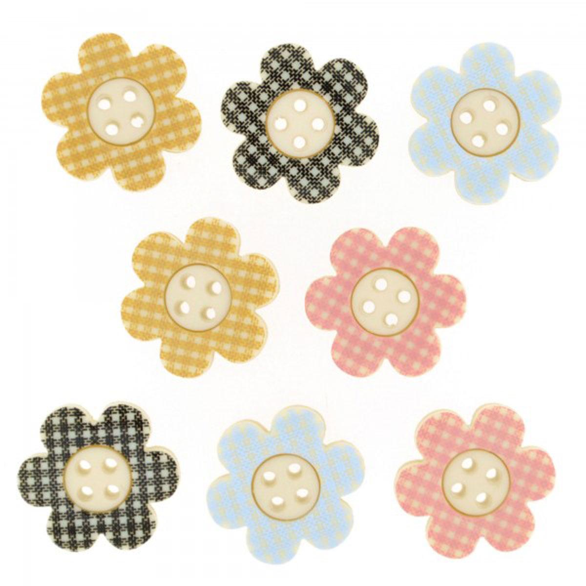 Пуговицы декоративные Dress It Up Цветы в клетку, 8 шт7713476Пуговицы декоративные Dress It Up Цветы в клетку состоит из 8 декоративных пуговиц, выполненных из цветного пластика в виде цветов. Такие пуговицы подходят для любых видов творчества: скрапбукинга, декорирования, шитья, изготовления кукол, а также для оформления одежды. С их помощью вы сможете украсить открытку, фотографию, альбом, подарок и другие предметы ручной работы. Пуговицы разных цветов имеют оригинальный и яркий дизайн. Средний размер пуговиц: 2 см х 2 см х 0,3 см.