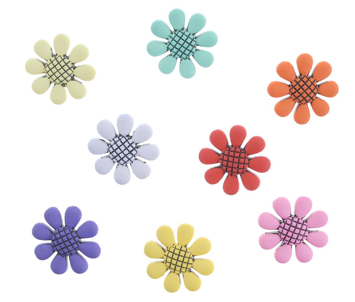 Пуговицы декоративные Buttons Galore & More Flower Power, 8 шт7705903Набор Buttons Galore & More Flower Power состоит из 8 декоративных пуговиц. Все элементы выполнены из пластика в виде цветов. Такие пуговицы подходят для любых видов творчества: скрапбукинга, декорирования, шитья, изготовления кукол, а также для оформления одежды. С их помощью вы сможете украсить открытку, фотографию, альбом, подарок и другие предметы ручной работы. Диаметр пуговиц: 2,5 см.
