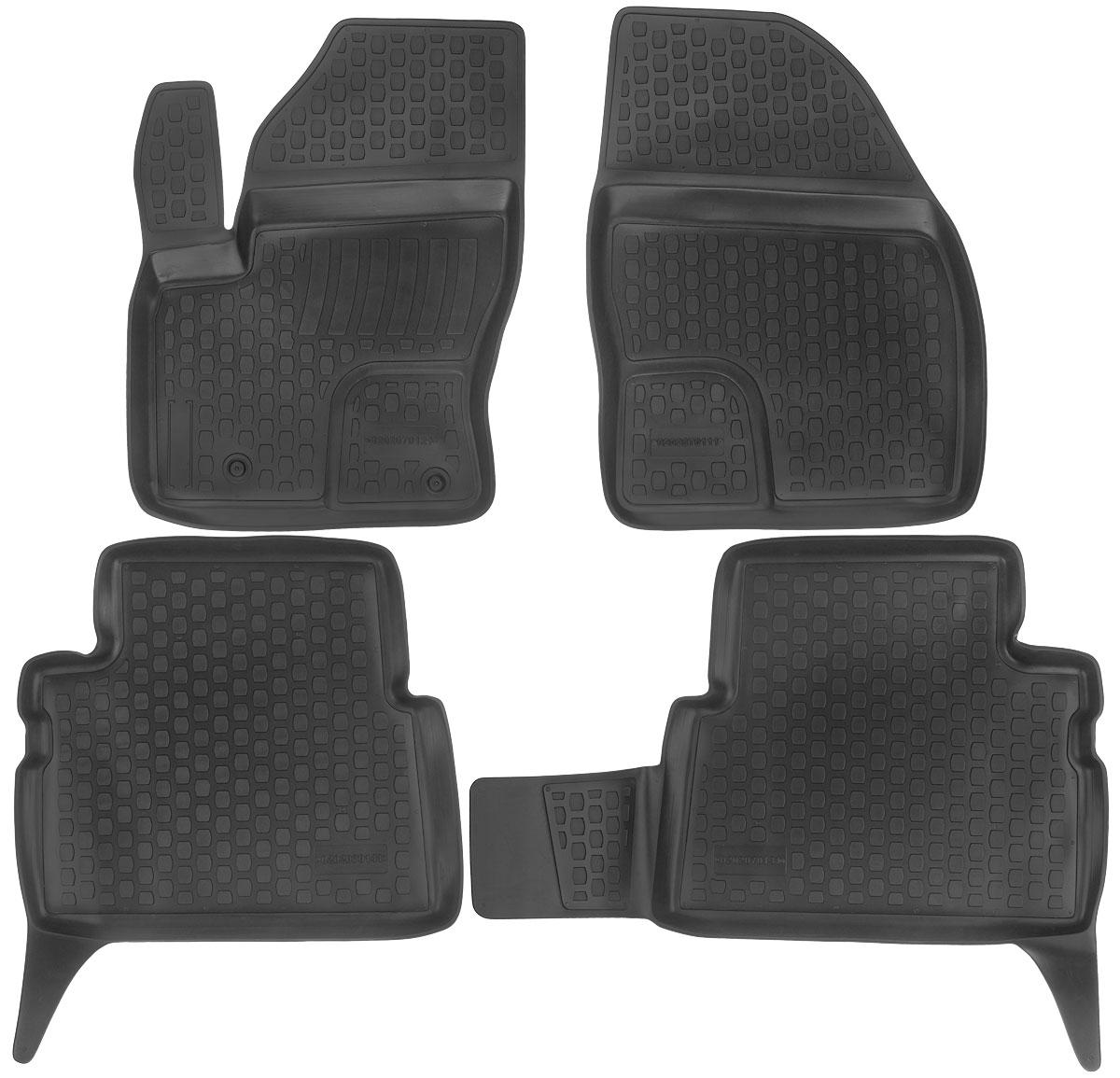 Набор автомобильных ковриков L.Locker Ford C-Max 2002, в салон, 4 шт0202070101Набор L.Locker Ford C-Max 2002, изготовленный из полиуретана, состоит из 4 антискользящих 3D ковриков, которые производятся индивидуально для каждой модели автомобиля. Изделие точно повторяет геометрию пола автомобиля, имеет высокий борт, обладает повышенной износоустойчивостью, лишено резкого запаха и сохраняет свои потребительские свойства в широком диапазоне температур от -50°С до +50°С. Комплектация: 4 шт. Размер ковриков: 69 см х 51 см; 59 см х 54 см; 87 см х 54 см; 70 см х 53 см.