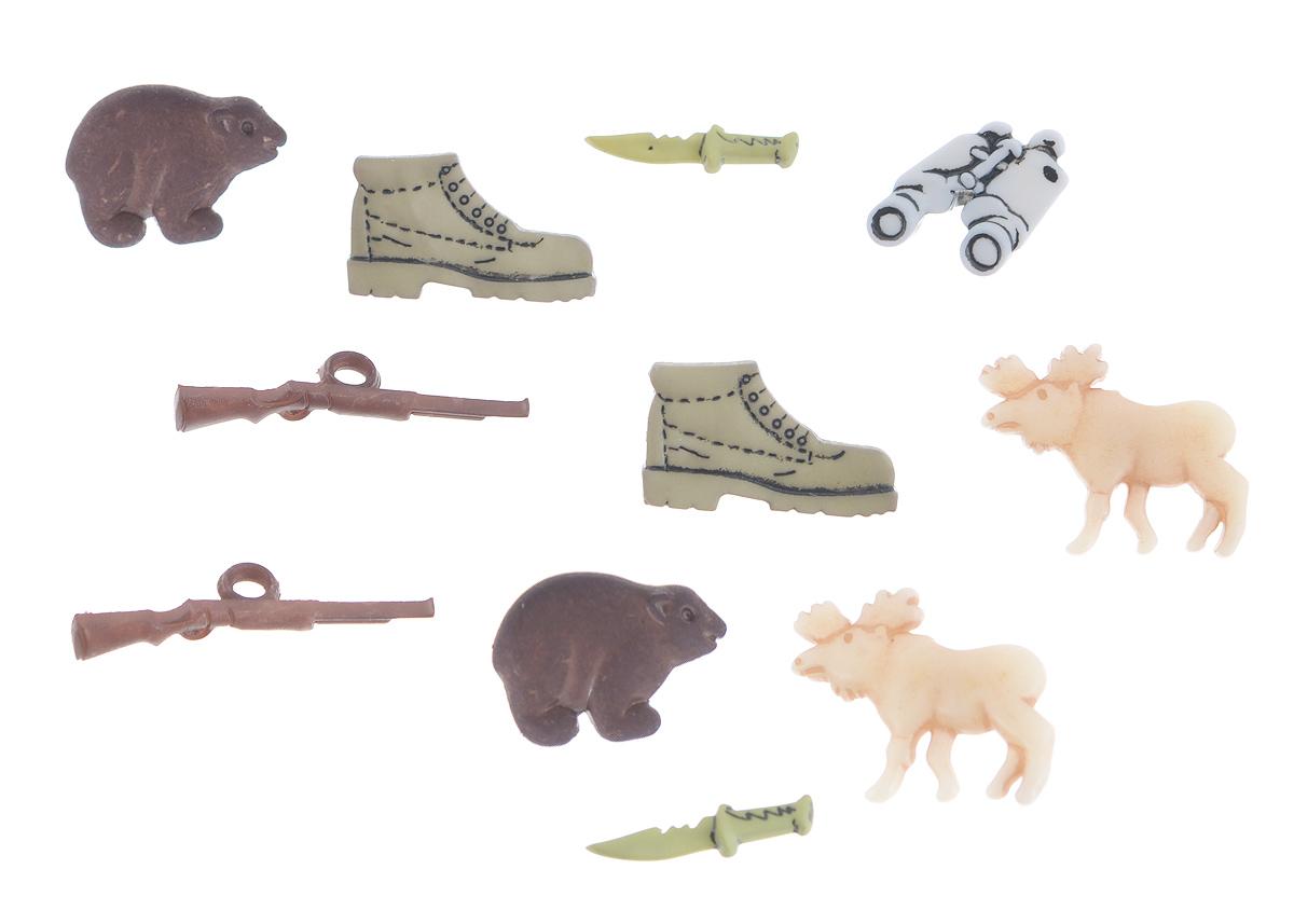 Набор пуговиц и фигурок Buttons Galore & More Hunting, 11 шт7705856Набор Buttons Galore & More Hunting состоит из 9 декоративных пуговиц на ножке и 2 декоративных элементов, которые можно приклеить. Все элементы выполнены из пластика в виде животных и оружия. Такой набор подходит для любых видов творчества: скрапбукинга, декорирования, шитья, изготовления кукол, а также для оформления одежды. С их помощью вы сможете украсить открытку, фотографию, альбом, подарок и другие предметы ручной работы. Все элементы выполнены в разных цветах и формах, имеют оригинальный и яркий дизайн. Средний размер элементов: 2,2 см х 1,4 см х 0,3 см.