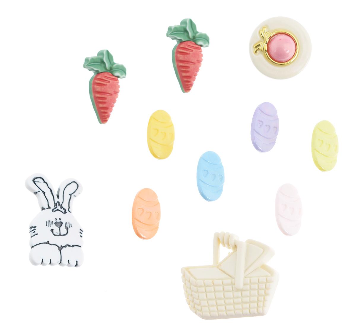 Набор пуговиц и фигурок Buttons Galore & More Easter Fun, 11 шт7705944Набор Buttons Galore & More Easter Fun состоит из 10 декоративных пуговиц на ножке и 1 декоративного элемента, который можно приклеить. Все элементы выполнены из пластика в виде кролика, пасхальных яиц и морковок. Такой набор подходит для любых видов творчества: скрапбукинга, декорирования, шитья, изготовления кукол, а также для оформления одежды. С их помощью вы сможете украсить открытку, фотографию, альбом, подарок и другие предметы ручной работы. Все элементы выполнены в разных цветах и формах, имеют оригинальный и яркий дизайн. Средний размер элементов: 1,7 см х 1,3 см х 0,5 см.