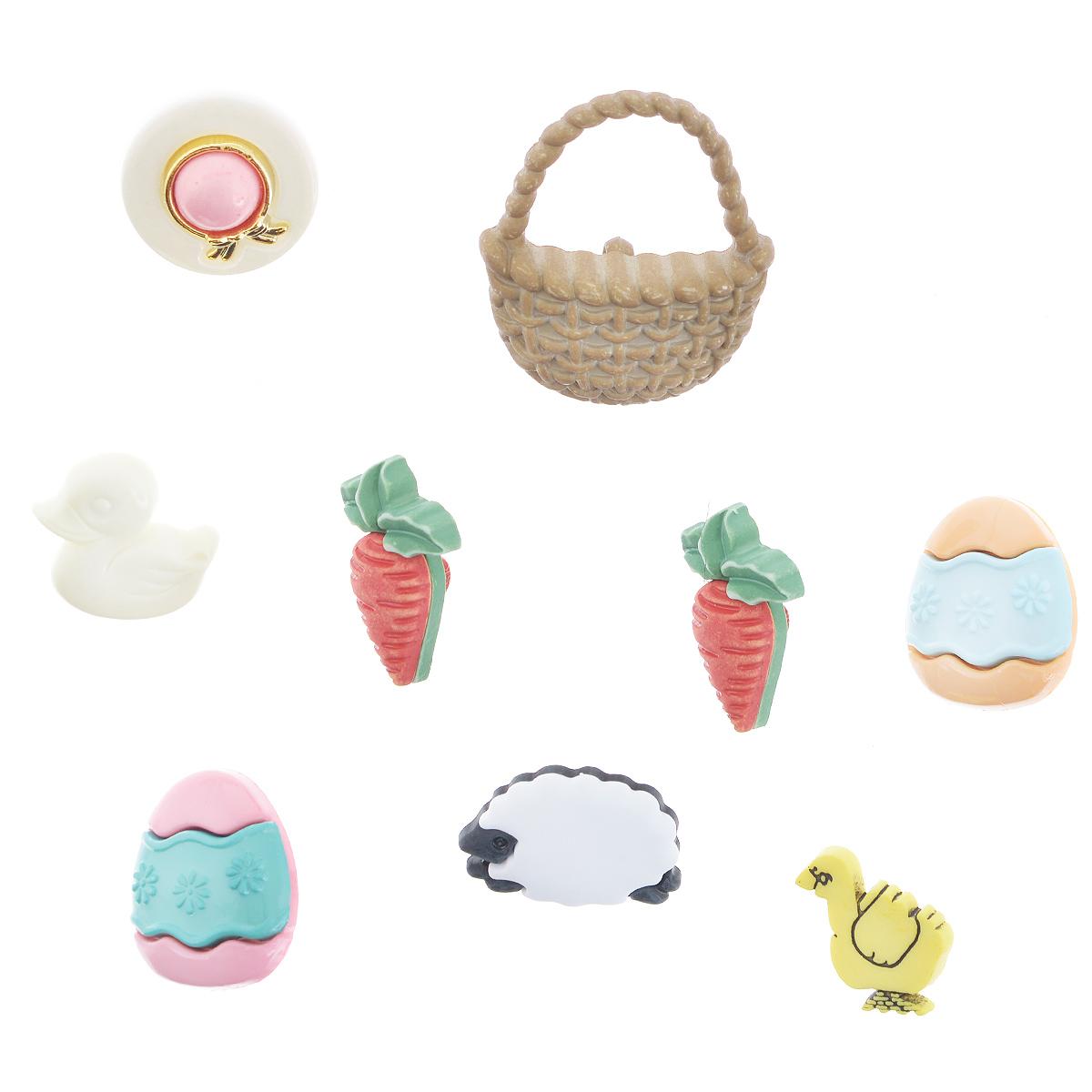 Пуговицы декоративные Buttons Galore & More Easter Basket, 9 шт7708844Набор Buttons Galore & More Easter Basket состоит из 9 декоративных пуговиц. Все элементы выполнены из пластика в виде морковок, корзины и пасхальных яиц. Такие пуговицы подходят для любых видов творчества: скрапбукинга, декорирования, шитья, изготовления кукол, а также для оформления одежды. С их помощью вы сможете украсить открытку, фотографию, альбом, подарок и другие предметы ручной работы. Пуговицы разных цветов имеют оригинальный и яркий дизайн. Средний размер пуговиц: 2 см х 1,3 см х 0,5 см.