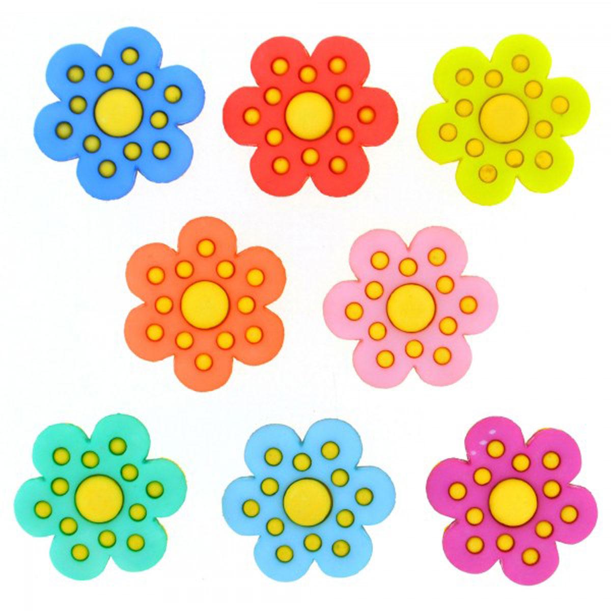 Пуговицы декоративные Dress It Up Цветы в горошек, 8 шт7713469Пуговицы декоративные Dress It Up Цветы в горошек состоит из 8 декоративных пуговиц, выполненных из цветного пластика в виде цветов. Такие пуговицы подходят для любых видов творчества: скрапбукинга, декорирования, шитья, изготовления кукол, а также для оформления одежды. С их помощью вы сможете украсить открытку, фотографию, альбом, подарок и другие предметы ручной работы. Пуговицы разных цветов имеют оригинальный и яркий дизайн. Средний размер пуговиц: 2 см х 2 см х 0,3 см.
