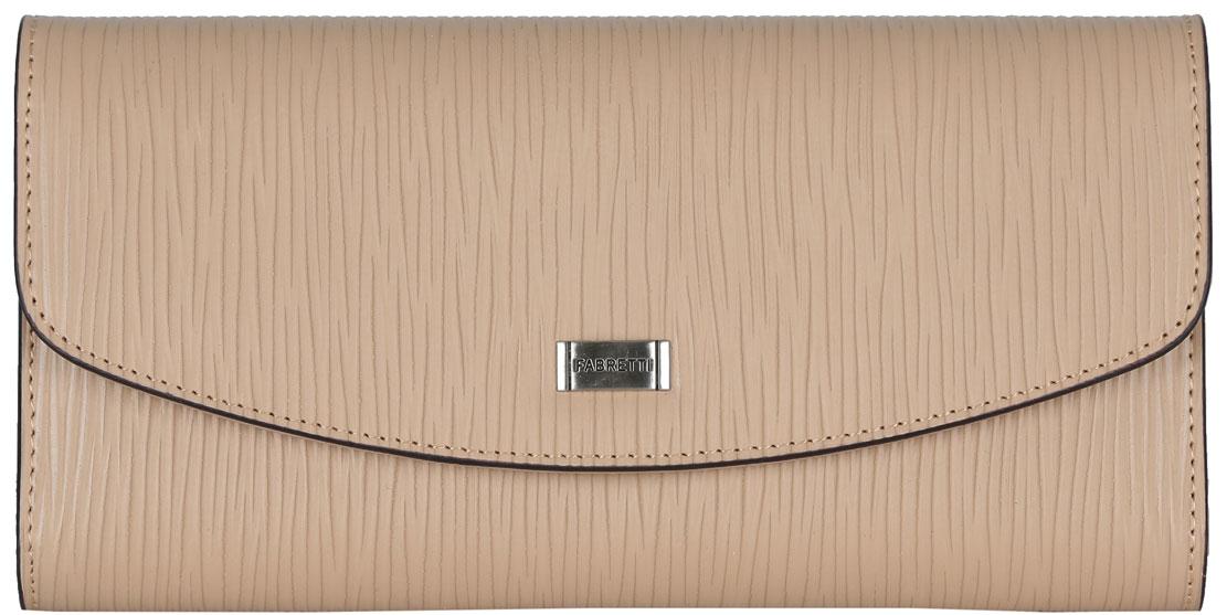 Кошелек женский Fabretti, цвет: бежевый. 1504210115042101-beigeЭлегантный кошелек Fabretti выполнен из натуральной кожи с декоративным тиснением и оформлен металлической фурнитурой с символикой бренда. Внутренняя часть изделия выполнена из текстиля и натуральной кожи. Изделие закрывается клапаном на кнопку. Кошелек содержит два отделения для купюр, отделение для монет на молнии, тринадцать кармашков для кредитных карт, один из которых с прозрачной вставкой из пластика, три боковых кармана. Изделие поставляется в фирменной упаковке. Стильный кошелек Fabretti станет отличным подарком для человека, ценящего качественные и практичные вещи.