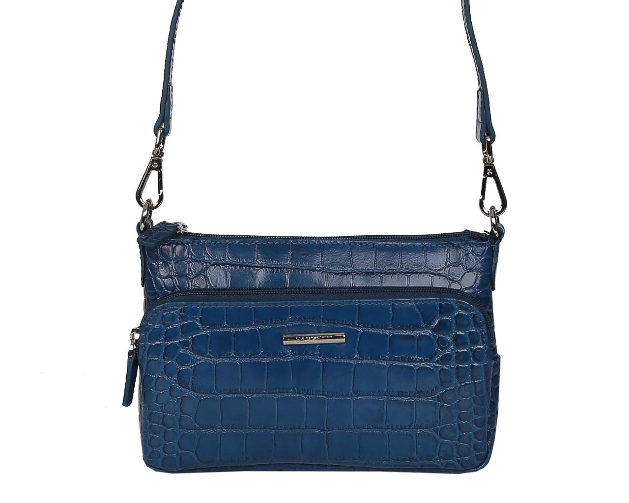 Сумка женская Fabretti, цвет: синий. F5723F5723-d.blueЭлегантная сумка Fabretti выполнена из натуральной кожи с тиснением под рептилию, оформлена металлической фурнитурой с символикой бренда. Изделие содержит одно основное отделение, которое закрывается на застежку-молнию. Внутри расположен накладной карман для всяких мелочей, а также врезной карман на молнии. Снаружи, на лицевой стороне размещен накладной карман на молнии. В тыльной стенке сумки расположен врезной карман на молнии. Сумка оснащена съемным плечевым ремнем, длина которого регулируется при помощи пряжки. Сумка Fabretti прекрасно дополнит образ и подчеркнет ваш неповторимый стиль.