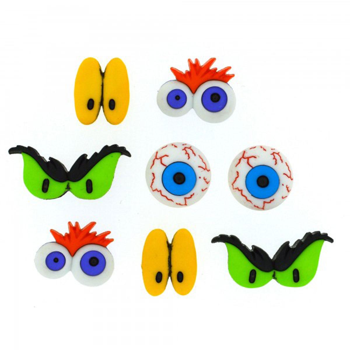 Пуговицы декоративные Dress It Up Глаза монстров, 8 шт7712037Пуговицы декоративные Dress It Up Глаза монстров состоит из 8 декоративных пуговиц, выполненных из цветного пластика в виде глаз. Такие пуговицы подходят для любых видов творчества: скрапбукинга, декорирования, шитья, изготовления кукол, а также для оформления одежды. С их помощью вы сможете украсить открытку, фотографию, альбом, подарок и другие предметы ручной работы. Пуговицы разных цветов имеют оригинальный и яркий дизайн. Средний размер пуговиц: 1,5 см х 1,2 см х 0,2 см.