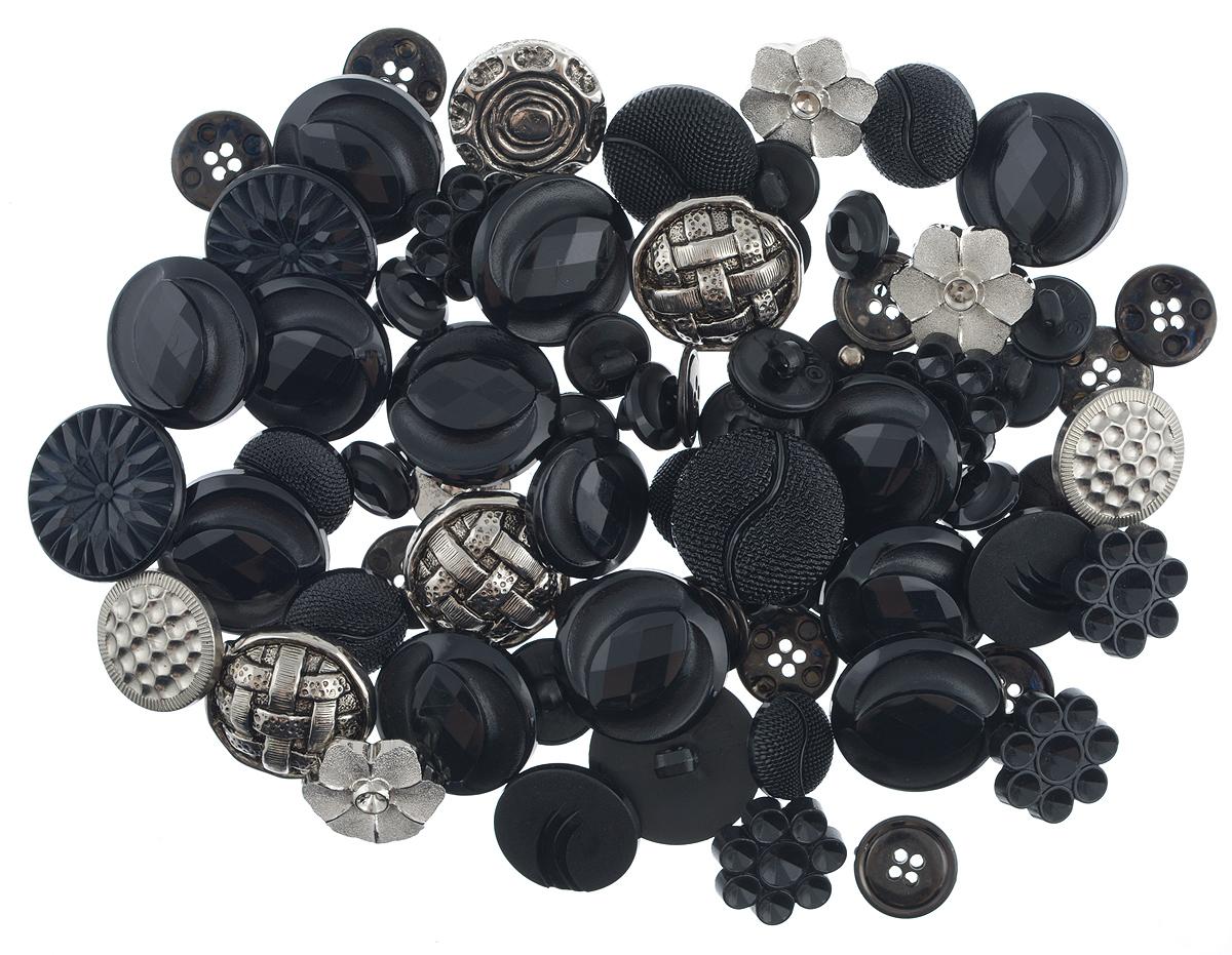 Пуговицы декоративные Buttons Galore & More Haberdashery Buttons, цвет: черный, серебряный, 115 г7708880_Черный/серебряныйНабор пуговиц для творчества и декорирования одежды Buttons Galore & More Haberdashery Buttons изготовлен из высококачественного пластика. В набор входят пуговицы различных размеров, форм и с разным количеством отверстий. Такие пуговицы подходят для любых видов творчества: скрапбукинга, декорирования, шитья, изготовления кукол, а также для оформления одежды. С их помощью вы сможете украсить открытку, фотографию, альбом, подарок и другие предметы ручной работы. Пуговицы имеют оригинальный и яркий дизайн. Средний диаметр пуговиц: 2 см.