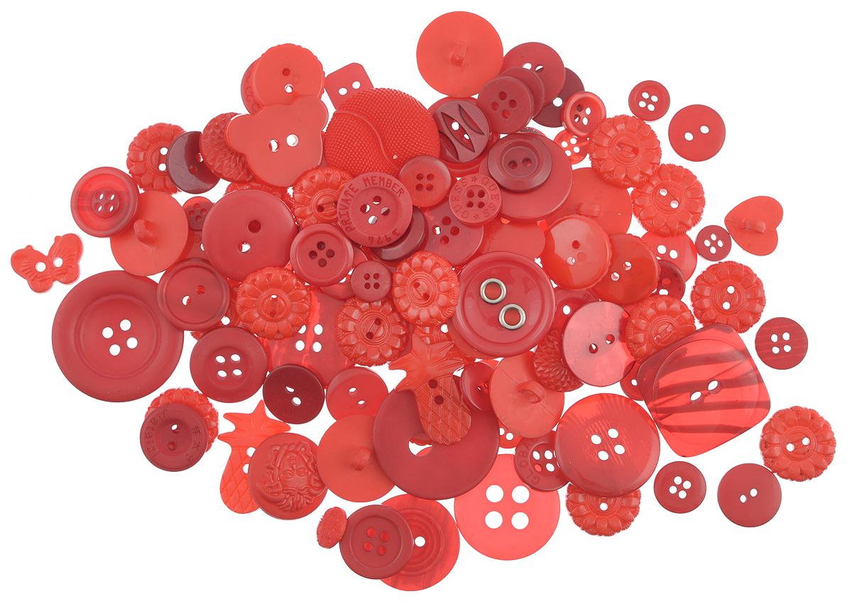 Пуговицы декоративные Buttons Galore & More Haberdashery Buttons, цвет: красный, 115 г7708880_КрасныйНабор пуговиц для творчества и декорирования одежды Buttons Galore & More Haberdashery Buttons изготовлен из высококачественного пластика. В набор входят пуговицы различных размеров, форм и с разным количеством отверстий. Такие пуговицы подходят для любых видов творчества: скрапбукинга, декорирования, шитья, изготовления кукол, а также для оформления одежды. С их помощью вы сможете украсить открытку, фотографию, альбом, подарок и другие предметы ручной работы. Пуговицы имеют оригинальный и яркий дизайн. Средний диаметр пуговиц: 2 см.