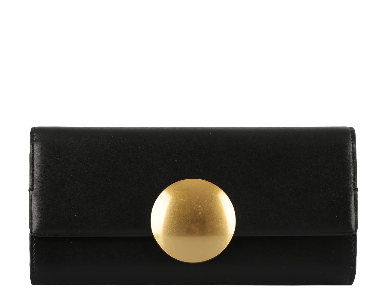 Кошелек женский Leo Ventoni, цвет: черный. L330791L330791 neroСтильный кошелек Leo Ventoni выполнен из натуральной кожи и оформлен металлической фурнитурой. Внутренняя часть изделия выполнена из текстиля и натуральной кожи. Изделие закрывается на клапан с магнитом, оформленным крупным декоративным элементом в виде металлического круга. Внутри кошелек имеет три отделения для купюр, открытый карман для мелких бумаг и чеков, шестнадцать кармашков для кредитных карт и визиток и один кармашек с прозрачным окошком из мягкого пластика. Отделение для мелочи расположено на тыльной стороне, имеет два кармана и закрывается на металлическую застежку-молнию. Стильный кошелек Leo Ventoni станет отличным подарком для человека, ценящего качественные и практичные вещи.