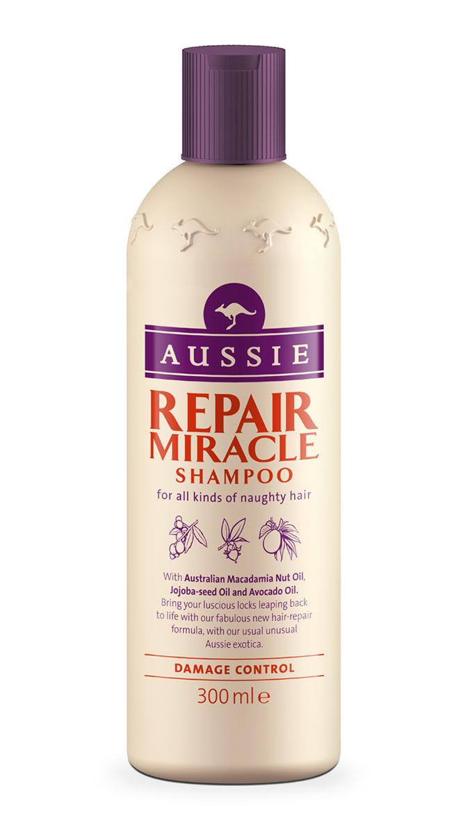 Aussie Шампунь Repair Miracle, для поврежденных волос, 300 млAUS-81520800Красивые волосы - это не все, что тебе нужно для счастья, но с них можно начать. Философия Aussie. Для всех типов непослушных волос. Наша специальная формула с маслами австралийского ореха макадамия, семян жожоба и авокадо превратит сухие поврежденные волосы в послушные блестящие локоны.