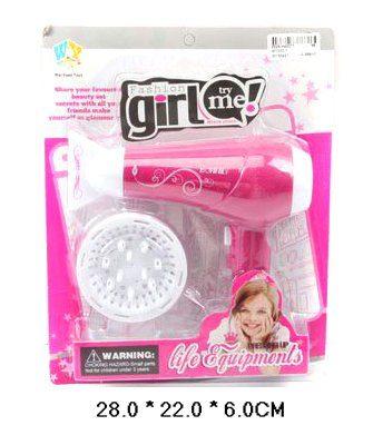 Shantou Gepai Игрушка ФенWY333-1Фен на батарейках - игрушка прекрасно подойдет для игр в парикмахера или в салон красоты. Теперь сушить волосы куклам, себе или подружкам легко и быстро! Фен работает как настоящий! Достаточно просто поставить в игрушку батарейки и нажать на кнопку.