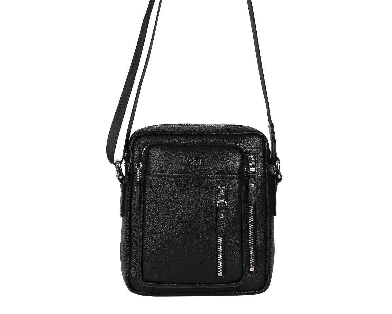 Сумка мужская Fabretti, цвет: черный. LRB004LRB004-blackСтильная мужская сумка Fabretti выполнена из натуральной кожи с зернистой фактурой и оформлена металлической фурнитурой. Изделие содержит одно основное отделение, которое закрывается молнию. Внутри расположен врезной карман на молнии встроенный органайзер, который состоит из накладного кармана для телефона и двух кожаных фиксаторов для ручек. Снаружи, на лицевой стенке сумки расположен накладной карман. В тыльной стенке сумки расположены два врезных кармана с молниями и два накладных кармана, один из которых закрывается на молнию. В тыльной стенке сумки дополнительный врезной карман на молнии. Сумка оснащена плечевым ремнем регулируемой длины, который крепится к основанию изделия при помощи металлической фурнитуры. Сумка Fabretti прекрасно дополнит образ и подчеркнет ваш неповторимый стиль.