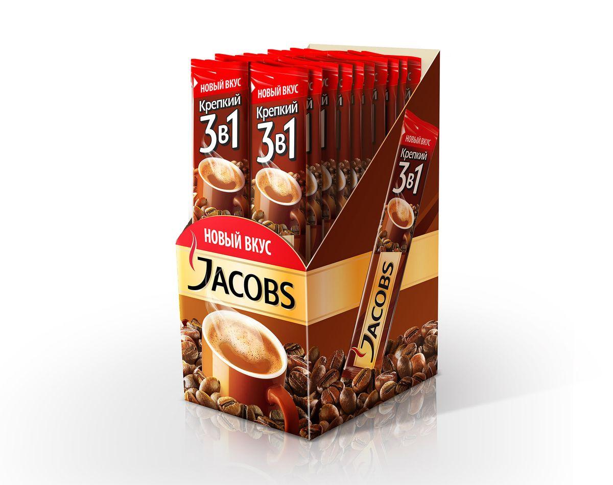 Jacobs Крепкий 3 в 1 напиток кофейный растворимый, 20 шт