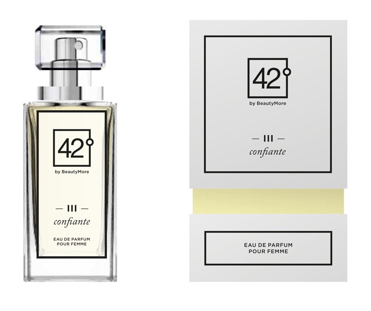 Fragrance 42 Парфюмированная вода для женщин III Confiante 30 мл42-96150Confiante- аромат созданный для уверенных в себе женщин, смело идущих по жизни, восхищяя окружающих. Верхняя нота - бергамот,грейпфрукт,апельсин, нота сердца - роза, жасмин,личи, базовые ноты - ветивер,мускус,пачули,ваниль.