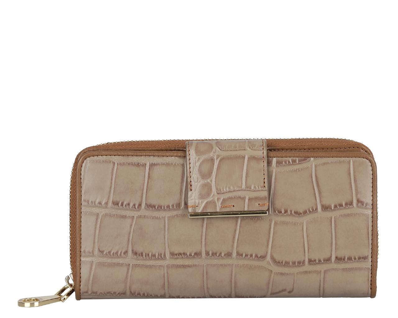 Кошелек женский Leo Ventoni, цвет: бежевый. L330519L330519-tan coccoЭлегантный кошелек Leo Ventoni выполнен из натуральной кожи с тиснением под крокодила и оформлен металлической фурнитурой с символикой бренда. Внутренняя часть изделия выполнена из текстиля и натуральной кожи. Изделие содержит два отделения: отделение для купюр на застежке-молнии и отделение для документов, которое закрывается хлястиком на кнопку. Внутри отделения для купюр предусмотрено две секции. Отделение для документов включает в себя тринадцать карманов для кредитных карт или визиток, один из которых с прозрачным окошком из мягкого пластика, и три бковых кармана для мелких бумаг и чеков. Стильный кошелек Leo Ventoni станет отличным подарком для человека, ценящего качественные и практичные вещи.
