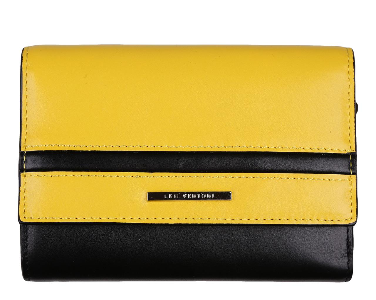 Кошелек женский Leo Ventoni, цвет: черный, желтый. L330724L330724 nero/yellowСтильный кошелек Leo Ventoni выполнен из натуральной кожи и оформлен металлической фурнитурой с символикой бренда. Внутренняя часть изделия выполнена из текстиля и натуральной кожи. Изделие закрывается на копку. Кошелек содержит три отделения для купюр, одно из которых на застежке-молнии, пять боковых карманов, девять кармашков для кредитных карт или визиток, два из которых с прозрачным окошком из мягкого пластика. Снаружи, на тыльной стороне кошелька, расположен врезной карман на застежке-молнии для монет. Стильный кошелек Leo Ventoni станет отличным подарком для человека, ценящего качественные и практичные вещи.