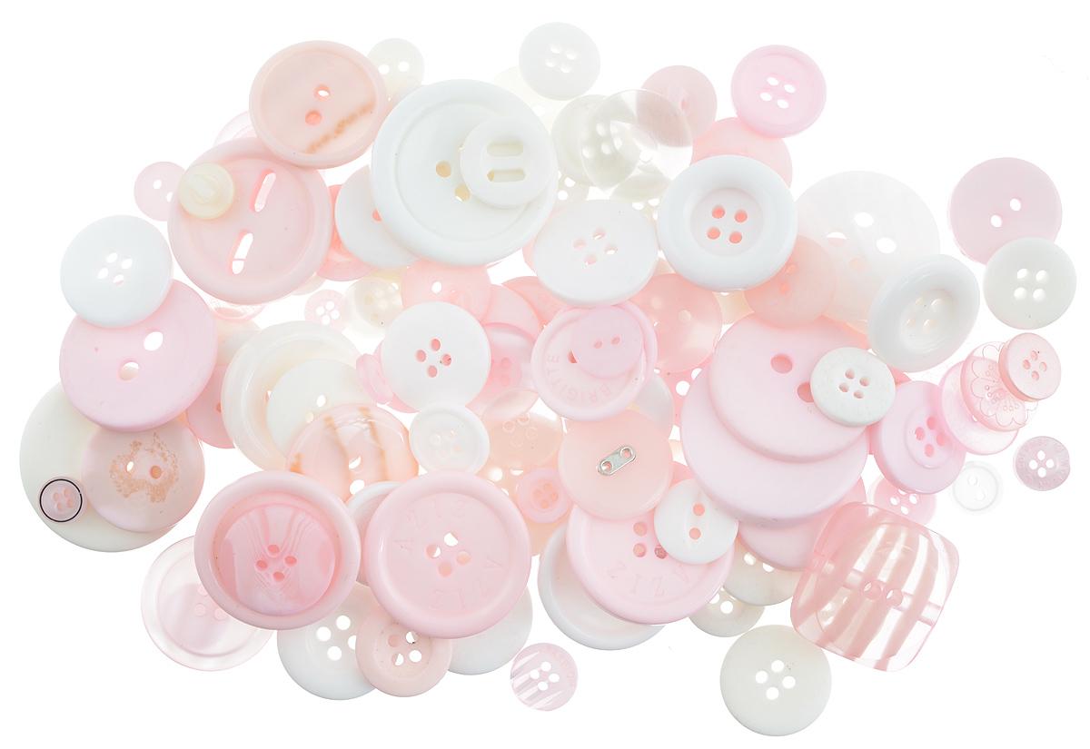 Пуговицы декоративные Buttons Galore & More Button Jars, цвет: розовый, белый, 115 г. 77088827708882_розовый, белыйНабор пуговиц для творчества и декорирования одежды Buttons Galore & More Button Jars изготовлен из высококачественного пластика. В набор входят пуговицы различных размеров и с разным количеством отверстий. Такие пуговицы подходят для любых видов творчества: скрапбукинга, декорирования, шитья, изготовления кукол, а также для оформления одежды. С их помощью вы сможете украсить открытку, фотографию, альбом, подарок и другие предметы ручной работы. Пуговицы имеют оригинальный и яркий дизайн. Средний диаметр пуговиц: 1,7 см.