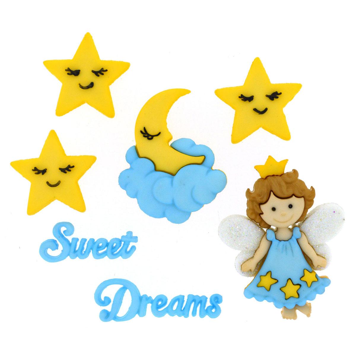 Пуговицы декоративные Dress It Up Сладких снов, 7 шт7713464Набор Dress It Up Сладких снов состоит из 7 декоративных пуговиц, выполненных из высококачественного пластика в виде надписей, ангела, звезд и облаков. Такие пуговицы подходят для любых видов творчества: скрапбукинга, декорирования, шитья, изготовления кукол, а также для оформления одежды. С их помощью вы сможете украсить открытку, фотографию, альбом, подарок и другие предметы ручной работы. Все пуговицы в наборе имеют оригинальный и яркий дизайн. Средний размер пуговиц: 3 см х 1,6 см х 0,5 см.