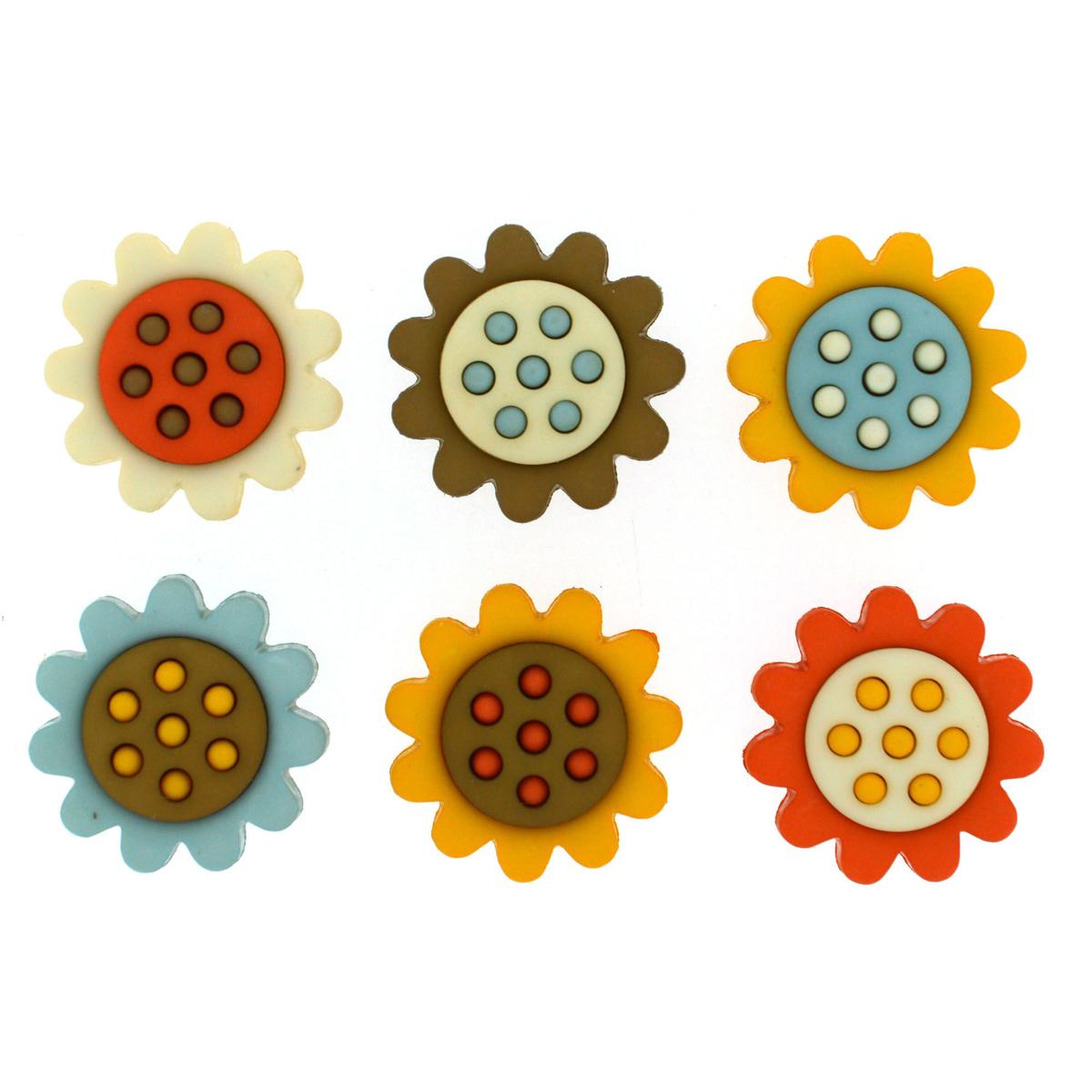 Пуговицы декоративные Dress It Up Осенние цветы, 6 шт7714364Набор Dress It Up Осенние цветы состоит из 6 декоративных пуговиц, выполненных из высококачественного пластика в виде разноцветных цветов. Такие пуговицы подходят для любых видов творчества: скрапбукинга, декорирования, шитья, изготовления кукол, а также для оформления одежды. С их помощью вы сможете украсить открытку, фотографию, альбом, подарок и другие предметы ручной работы. Все пуговицы в наборе имеют оригинальный и яркий дизайн. Средний размер пуговиц: 2 см х 2 см х 0,5 см.