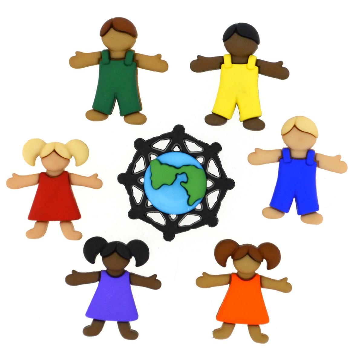 Пуговицы декоративные Dress It Up Дети Земли, 7 шт7713459Набор Dress It Up Дети Земли состоит из 7 декоративных пуговиц, выполненных из высококачественного пластика в виде фигур детей и планеты На оборотной стороне изделие оснащено петелькой. Такие пуговицы подходят для любых видов творчества: скрапбукинга, декорирования, шитья, изготовления кукол, а также для оформления одежды. С их помощью вы сможете украсить открытку, фотографию, альбом, подарок и другие предметы ручной работы. Все пуговицы в наборе имеют оригинальный и яркий дизайн. Средний размер пуговицы: 2,5 см х 2,3 см х 0,5 см.