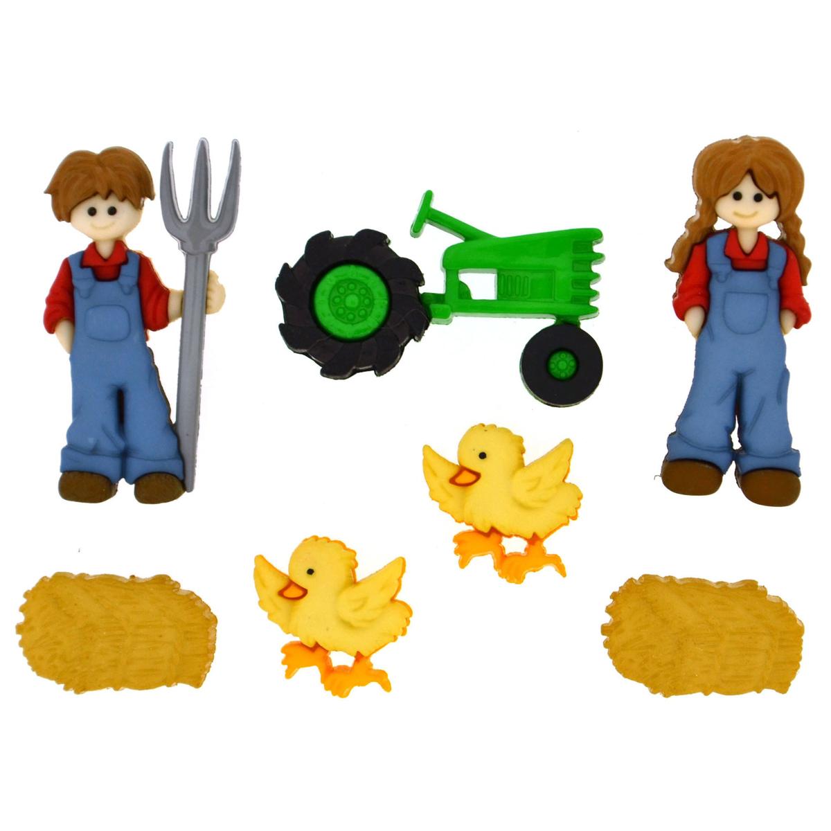 Пуговицы декоративные Dress It Up На ферме, 7 шт7713471Набор Dress It Up На ферме состоит из 7 декоративных пуговиц, выполненных из высококачественного пластика в виде фермеров, курочек и трактора. Такие пуговицы подходят для любых видов творчества: скрапбукинга, декорирования, шитья, изготовления кукол, а также для оформления одежды. С их помощью вы сможете украсить открытку, фотографию, альбом, подарок и другие предметы ручной работы. Все пуговицы в наборе имеют оригинальный и яркий дизайн. Средний размер пуговиц: 1,8 см х 2,7 см х 0,5 см.