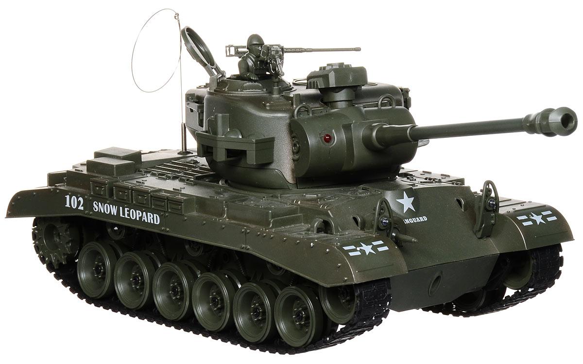 Пламенный мотор Танк на радиоуправлении Pershing М2687557Радиоуправляемый танк Пламенный мотор Pershing М26 понравится не только малышам, но и взрослым любителям военной техники. Игрушка, выполненная из безопасного прочного пластика с элементами из металла, досконально воспроизводит модель легендарного американского танка Pershing М26 в масштабе 1/18. В комплект входят также 2 навесных пулемета и фигурка командира. Танк может двигаться вправо, влево, вперед и назад с тремя скоростями - 8 км/ч, 10 км/ч и 12 км/ч, а также вращаться на месте и преодолевать подъемы под углом 45 градусов. Башня танка может вращаться направо и налево на 320 градусов, а регулируемая пушка опускается и поднимается. Пневматическая пушка с улучшенной баллистической системой стреляет пластиковыми пульками и имеет прицельную дальность стрельбы 12 метров. При каждом выстреле танк откатывается назад как настоящий! Для имитации реалистичных действий предусмотрена возможность управления движением танка и башней одновременно. Радиус действия пульта...