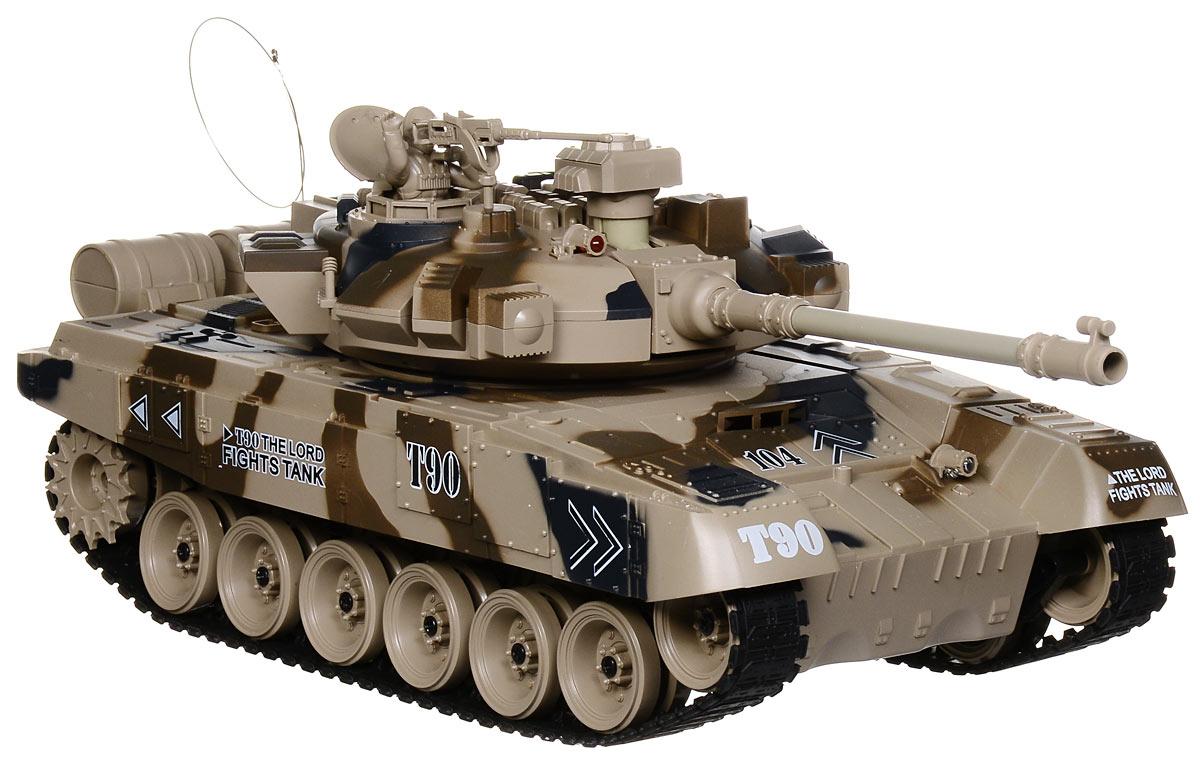 Пламенный мотор Танк на радиоуправлении Т-90 масштаб 1:1887559Радиоуправляемый танк бренда Пламенный мотор будет не безразличен любому мальчику, даже некоторым взрослым. Танк выполнен с потрясающей доскональностью к каждой детали на кузове и других, более мелких частях. Башня танка может вращаться направо и налево. Радиус действия пульта управления довольно высок и составляет целых 12 метров. Для имитации реалистичных действий предусмотрена возможность управления движением танка и башней одновременно. Регулируемая пушка опускается и поднимается. Кроме того танк преодолевает подъемы. Реалистичные световые и звуковые эффекты при стрельбе придают огромную долю реалистичности игрушке. Танк может двигаться: вправо, влево, вперед, назад, а также вращаться на месте.