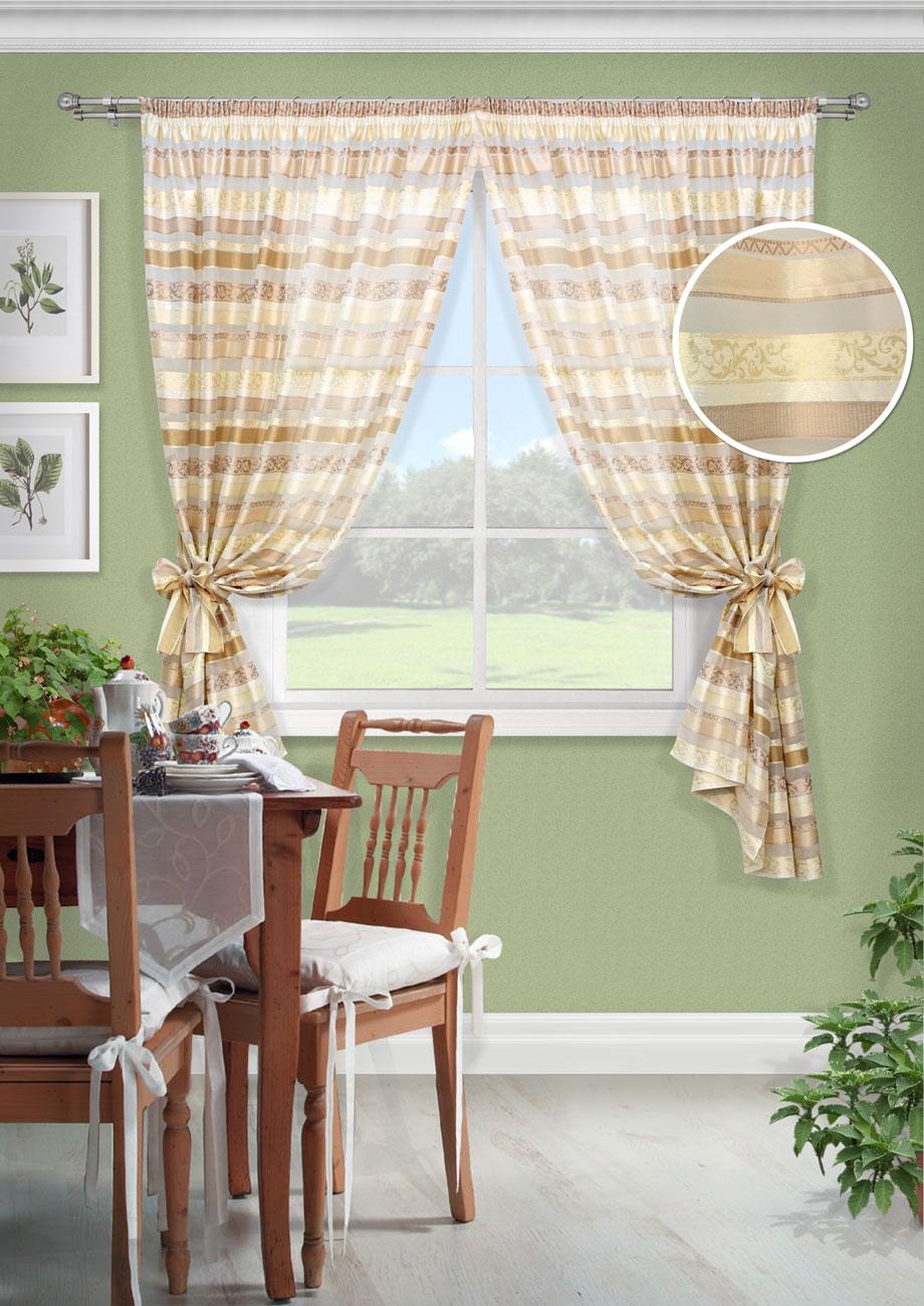 Комплект штор Маракеш-С, UN123226115UN123226115Комплект штор для кухни. Органза горизонтальные полосы на шторной ленте (153*175)*2 шторы + 2 подхвата