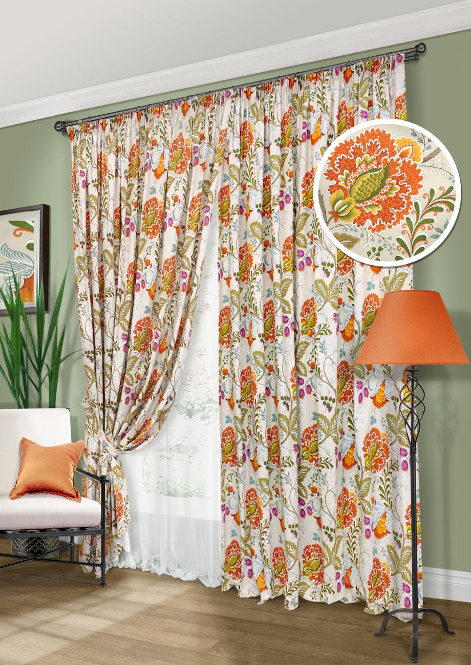 Комплект штор Федерика-С, UN123296630UN123296630Комплект штор для гостиной, спальни. Портьеры лонета цветы,+ батист + 2 подхвата 277х270см 2 портьеры, 502х274см батист, 2 подхвата