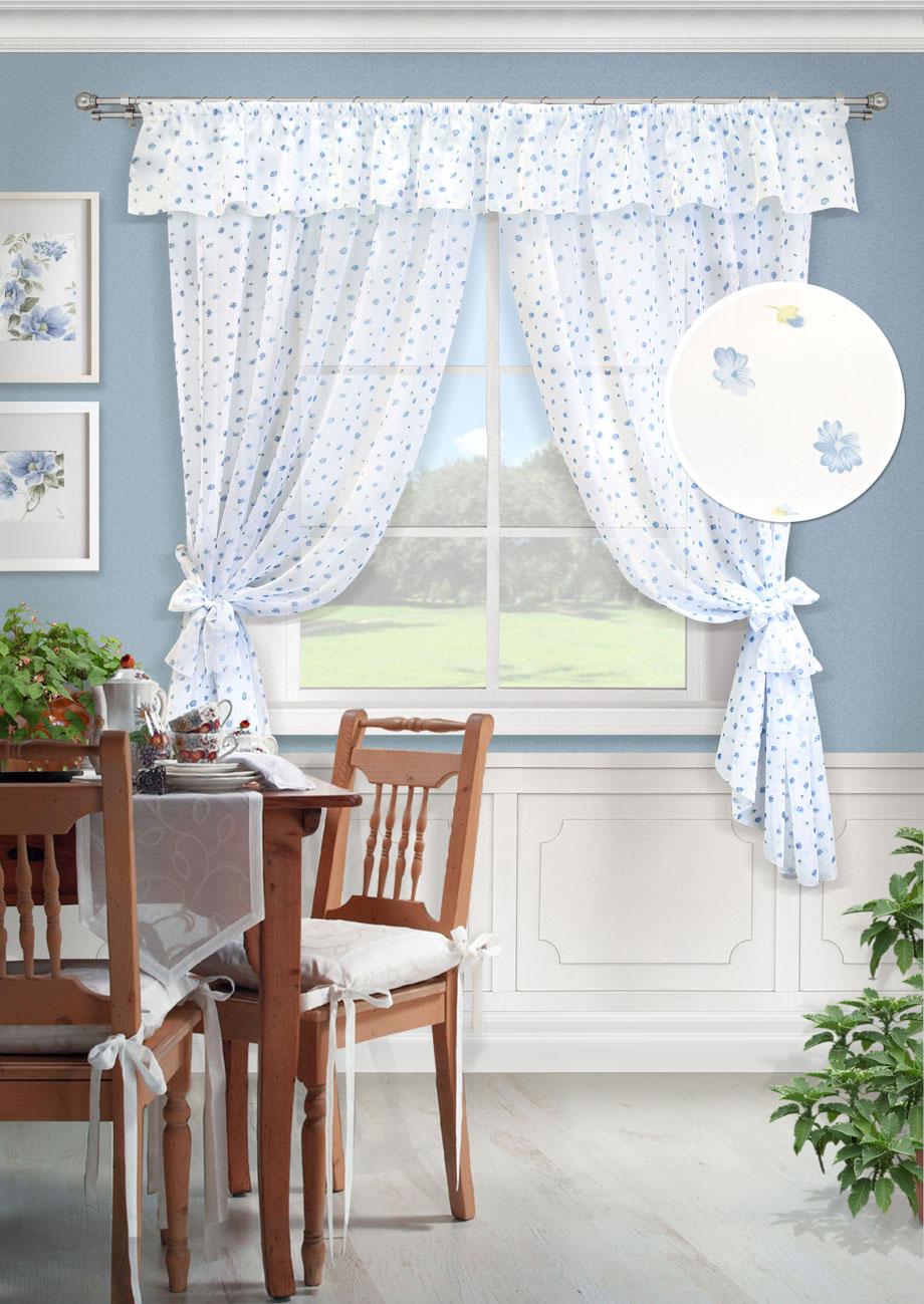 Комплект штор Флора-С, UN123505140UN123505140Комплект штор для кухни две шторы вуаль принт, ламбрекен, 2 подхвата. Состав 100% Полиэстер. Цвет белый 2 шторы 139х187см, ламбрекен 280х38см, 2 подхвата