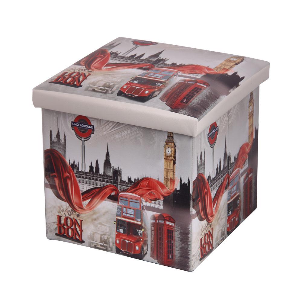 Пуфик складной Miolla Лондон, с ящиком для хранения, цвет: светло-серый, красный, 38 х 38 х 38 смPSS-2Складной пуфик Miolla Лондон, выполненный из МДФ и экокожи, понравится всем ценителям оригинальных вещей. Благодаря удобной конструкции складывается и раскладывается одним движением. В сложенном виде изделие занимает минимум места, его легко хранить и перевозить. В таком пуфике можно хранить всевозможные предметы: книги, игрушки, рукоделие. Яркий дизайн привнесет в ваш интерьер неповторимый шарм. Размер пуфика (в собранном виде): 38 см х 38 см х 38 см.
