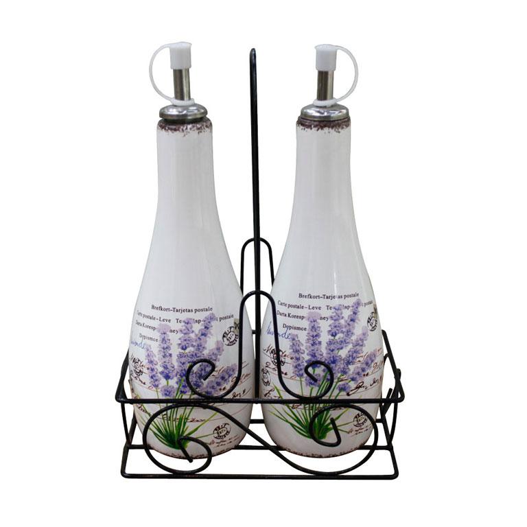 Набор для специй ЛАВАНДА на металлической подставке, 3пр. (бутылочка под масло, бутылочка под соус. YX5811JYX5811JУютный набор для специй отлично впишется в кухню в прованском стиле или стиле кантри, а также в кухню в нейтральных светлых оттенках