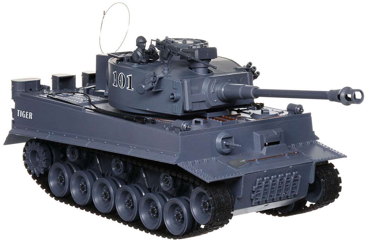 Пламенный мотор Танк на радиоуправлении Tiger масштаб 1:1887561Радиоуправляемый танк Пламенный мотор Tiger понравится не только малышам, но и взрослым любителям военной техники. Игрушка, выполненная из безопасного прочного пластика с элементами из металла, досконально воспроизводит легендарную модель немецкого танка Tiger в масштабе 1/18. В комплект входят также 2 навесных пулемета и фигурка командира. Танк может двигаться вправо, влево, вперед и назад с тремя скоростями - 8 км/ч, 10 км/ч и 12 км/ч, а также вращаться на месте и преодолевать подъемы под углом 45 градусов. Башня танка может вращаться направо и налево на 320 градусов, а регулируемая пушка опускается и поднимается. Пневматическая пушка с улучшенной баллистической системой стреляет пластиковыми пульками и имеет прицельную дальность стрельбы 12 метров. При каждом выстреле танк откатывается назад как настоящий! Для имитации реалистичных действий предусмотрена возможность управления движением танка и башней одновременно. Радиус действия пульта управления составляет...