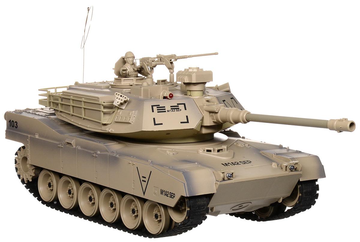 Пламенный мотор Танк на радиоуправлении Abrams М1А2 масштаб 1:1887560Радиоуправляемый танк Пламенный мотор Abrams М1А2 понравится не только малышам, но и взрослым любителям военной техники. Игрушка, выполненная из безопасного прочного пластика с элементами из металла, досконально воспроизводит модель легендарного американского танка Abrams М1А2 в масштабе 1/18. В комплект входят также 2 съемных навесных пулемета и фигурка командира. Танк может двигаться вправо, влево, вперед и назад с тремя скоростями - 8 км/ч, 10 км/ч и 12 км/ч, а также вращаться на месте и преодолевать подъемы под углом 45 градусов. Башня танка может вращаться направо и налево на 320 градусов, а регулируемая пушка опускается и поднимается. Пневматическая пушка с улучшенной баллистической системой стреляет пластиковыми пульками и имеет прицельную дальность стрельбы 12 метров. При каждом выстреле танк откатывается назад как настоящий! Для имитации реалистичных действий предусмотрена возможность управления движением танка и башней одновременно. Радиус действия пульта...