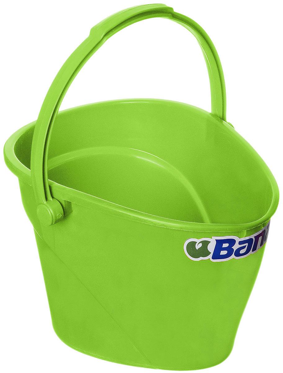 Ведро Banat, цвет: зеленый, 12 л780222Ведро Banat изготовлено из прочного пластика. Предназначено для уборки и других хозяйственных нужд. Изделие имеет специальную форму, позволяющую удобно выливать жидкость. Для переноски предусмотрена прочная широкая ручка.