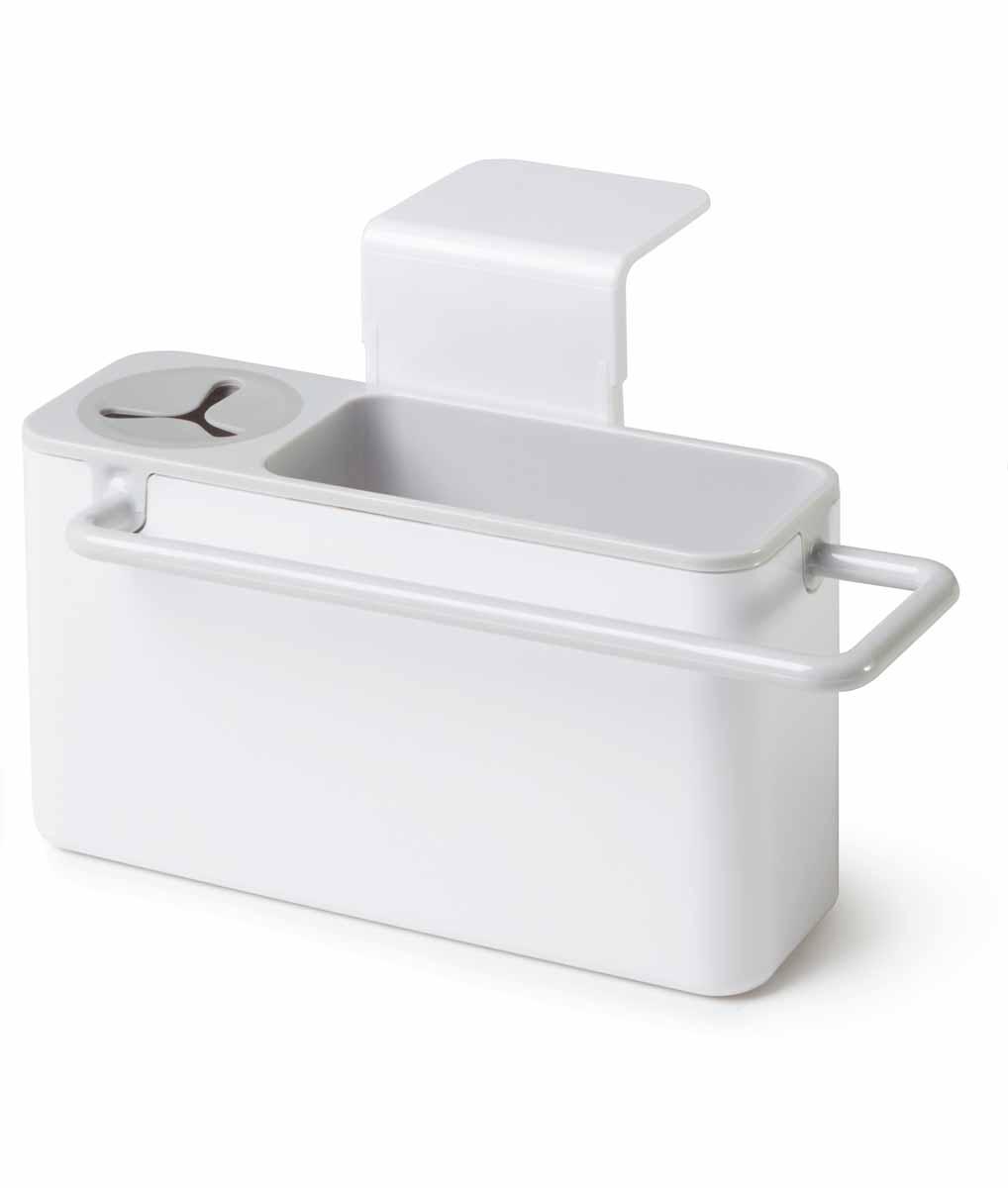 Подставка для кухонных принадлежностей Идея Mr. Чистюля, цвет: серыйPDS-03Подставка для кухонных принадлежностей Идея Mr. Чистюля поможет навести на кухне полный порядок и расставить все по своим местам. В ней найдется место для кухонной салфетки, моющего средства, ершика и губки. Подставка не только поможет вам держать под рукой необходимые для мытья посуды принадлежности, но и добавит настроения. Щетку можно поставить в отсек с силиконовым держателем, кухонную салфетку повесить на рейлинг, где она быстрей высохнет, а губку для мытья посуды положить внутрь подставки. Вся вода, которая будет собираться с моющих принадлежностей, будет стекать в раковину. Подставка крепится на раковину мощными присосками, при необходимости она легко снимается, разбирается и моется. Размер подставки: 19 см х 9 см х 9 см.