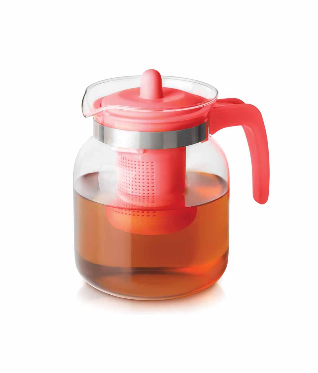 Чайник-кувшин Menu Чабрец, с фильтром, цвет: прозрачны, розовый, 1,45 лCHZ-14_розЧайник-кувшин Menu Чабрец изготовлен из прочного стекла, которое выдерживает температуру до 100°C. Он прекрасно подойдет для заваривания чая и травяных настоев. Классический стиль и оптимальный объем делают чайник удобным и оригинальным аксессуаром, который прекрасно подойдет для ежедневного использования. Ручка изделия выполнена из пищевого пластика, она не нагревается и обеспечивает безопасность использования. Благодаря съемному ситечку и оптимальной форме колбы, чайник- кувшин Menu Чабрец идеально подходит для использования его в качестве кувшина для воды и прохладительных напитков. Диаметр чайника по верхнему краю: 10,3 см. Общий диаметр чайника: 11 см. Высота чайника (без учета ручки и крышки): 15,6 см. Высота чайника (с учетом ручки и крышки): 17 см.