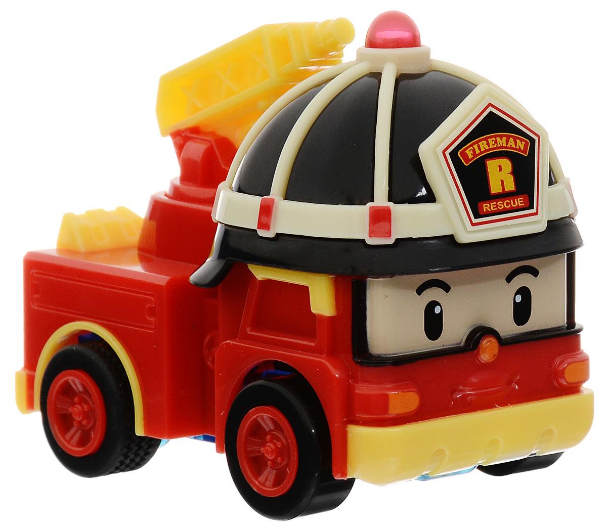 Robocar Poli Игрушка Умная машинка Рой83241Игрушка Robocar Poli Умная машинка Рой - это пожарный из мультфильма Робокар Поли. Рой выполняет важную работу по тушению пожаров, возникших в городах, селениях и лесных массивах. Ребенку будет интересно играть с игрушкой, ехать по вызову на место пожара и тушить бушующее пламя. Красивая красная машина с пожарной каской и умным, серьезным лицом, несомненно, понравится малышу, ведь с ней можно проезжать по улицам и следить за порядком, обследовать лес на случай пожара. Красный автомобиль пожарной инспекции Рой - это самый сильный участник, который выполняет сложные подъемы и поддержки попавших в беду жителей городка. С машинкой малыш может играть в героя, спешащего на помощь пострадавшим от огня людям, тушить возгорания и учить других технике безопасности. Машинки, прошедшие обучение, смогут стать помощниками для Роя. Рой - очень умная машинка, она отлично знает правила дорожного движения и ни за что не попадет в аварию, так как самостоятельно...