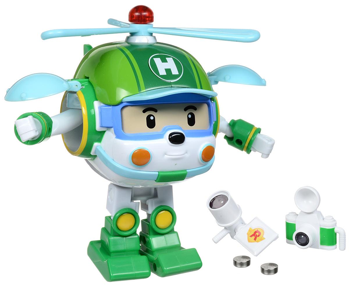 Robocar Poli Игрушка-трансформер Хэли 12 см83096Игрушка-трансформер Robocar Poli Хэли не оставит равнодушным вашего малыша. Она выполнена из прочного пластика в виде вертолета- робота Хэли - персонажа мультфильма Робокар Поли и его друзья. Он всегда готов трансформироваться из робота в вертолет и вылететь на помощь любому жителю городка Брумстаун. Лопасти пропеллера могут вращаться. Маячок на верхушке пропеллера светится. В наборе поставляются фотоаппарат и видеокамера, которые удобно вкладываются в руки Хэли (в форме робота). Ваш ребенок с удовольствием будет играть с трансформером, придумывая разные истории. Порадуйте его таким замечательным подарком! Для работы игрушки необходимы 2 батарейки типа AG13 (товар комплектуется демонстрационными).