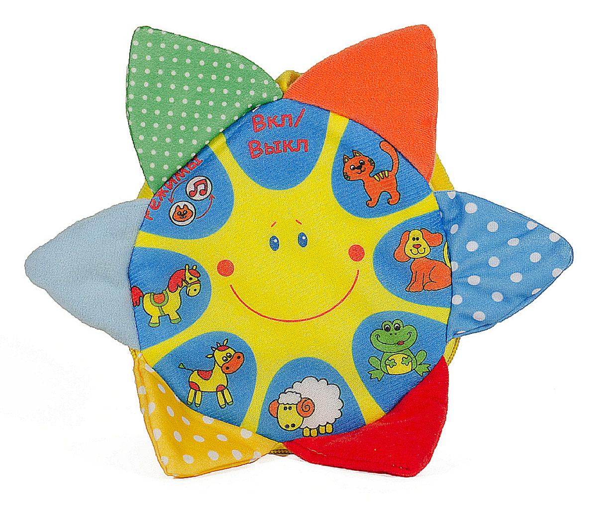 Mommy Love Развивающая игрушка Музыкальное солнышкоMUS0\MРазвивающая игрушка Музыкальное солнышко выполнена в виде мягкого солнышка с разноцветными треугольными лучами. Лучики издают шелест, что усиливают тактильное восприятие ребенка. Игрушка имеет 2 режима работы. Первый - при нажатии на картинку с животным, ребенок услышит звук, издаваемый этим животным. Второй режим - вместе со звуком животного звучит музыка. Солнышко имеет зеркальце с обратной стороны. Игрушка может использоваться, как подвеска. Благодаря длинным текстильным завязкам игрушка легко крепится к кроватке или коляске. Яркие цвета игрушки направлены на развитие мыслительной деятельности, цветового восприятия, тактильных ощущений, мелкой моторики рук ребенка и развития слухового аппарата. Для работы требуются 3 батарейки типа ААА (комплектуется демонстрационными).