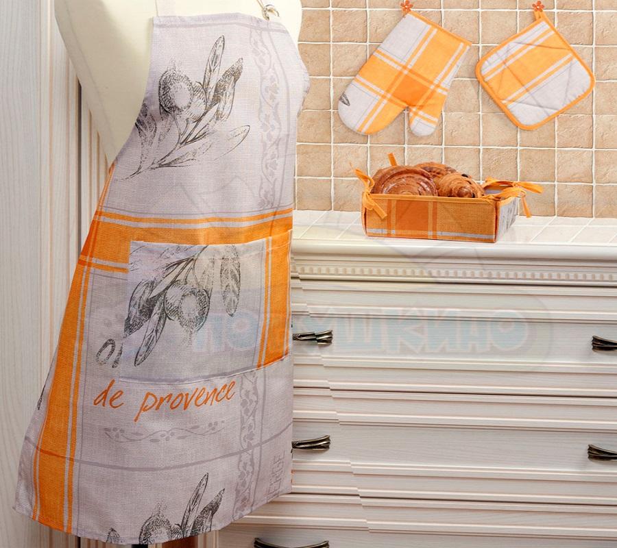 Набор кухонный Подушкино Прованс, цвет: оранжевый, 4 предмета4578919-31prКухонный набор Подушкино Прованс состоит из фартука, прихватки, варежки-прихватки и хлебницы. Изделия выполнены из высококачественного полиэстера с водоотталкивающей пропиткой. Красивый дизайн в стиле прованс сделает этот набор желанным для любой хозяйки. Фартук универсального размера, имеет завязки на талии и лямку на шее, регулируемую по длине. Спереди содержится карман для мелочей. Прихватки помогут справиться с любой горячей посудой и сберегут ваши руки от ожогов. В комплекте также имеется хлебница с основанием из плотного картона, который прекрасно держит форму. Кухонный набор Подушкино Прованс незаменим на современной кухне! Яркий и оригинальный дизайн вдохновит вас на новые кулинарные подвиги. Размер фартука: 68 см х 75 см. Размер хлебницы: 20 см х 20 см х 7 см. Размер прихватки: 18 см х 18 см. Размер варежки-прихватки: 26 см х 18 см.