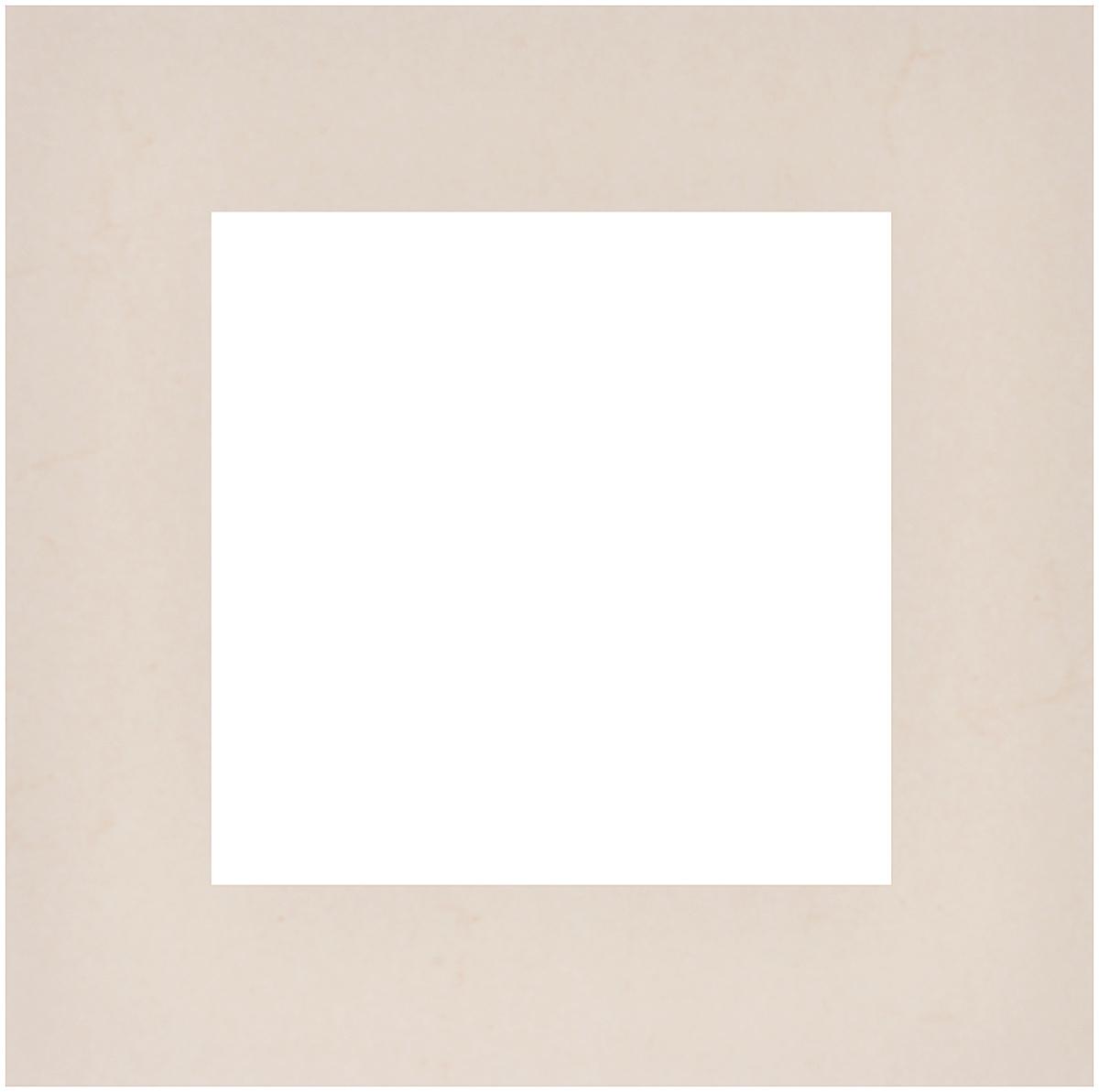 Паспарту Василиса, цвет: светло-бежевый, 20 см х 20 см549618Паспарту Василиса, изготовленное из плотного картона, предназначено для оформления художественных работ и фотографий. Оно располагается между багетной рамой и изображением, делая акцент на фотографии, усиливая ее визуальное восприятие. Кроме того, на паспарту часто располагают поясняющие подписи, автограф изображенного. Внешний размер: 20 см х 20 см. Внутренний размер: 12 см х 12 см.