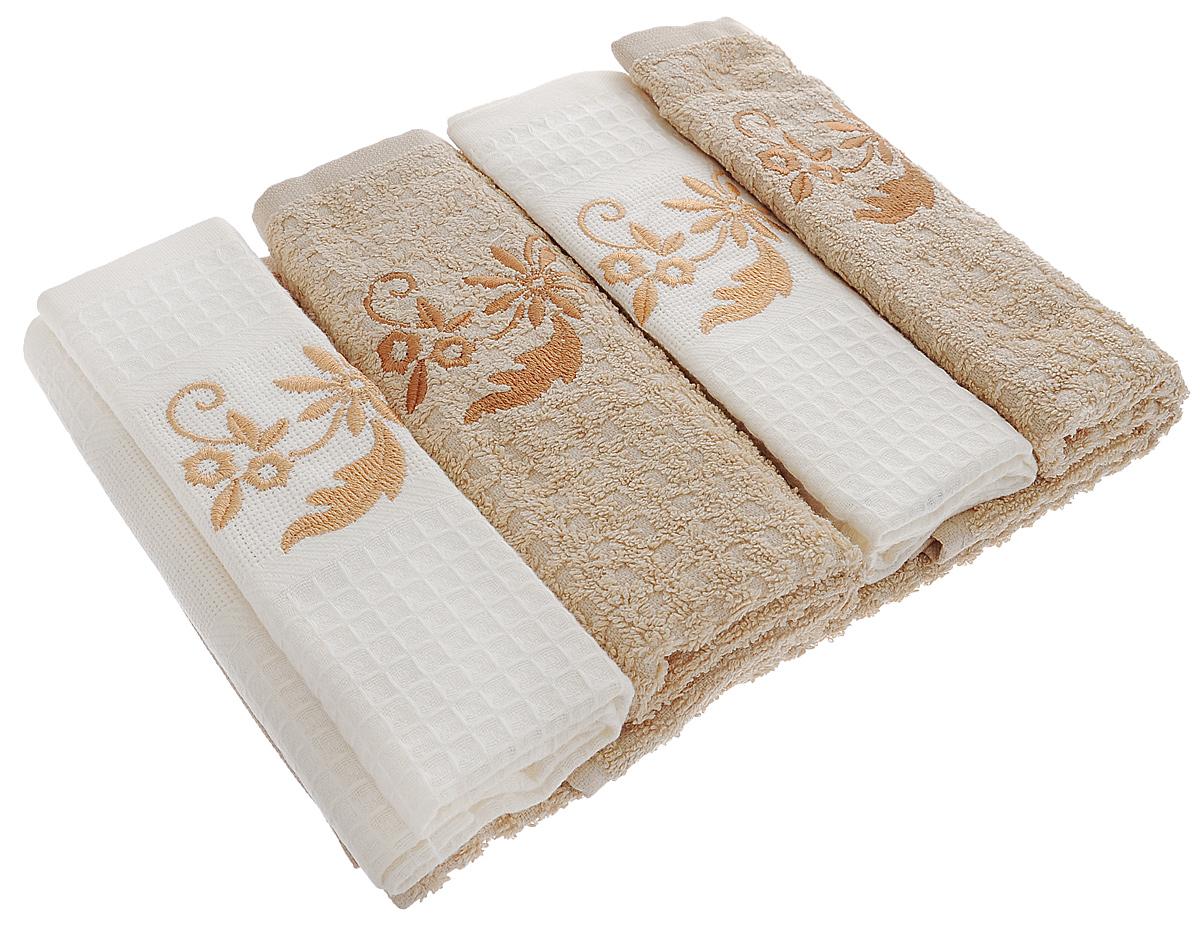 Набор кухонных полотенец Mariposa Cream, 40 х 60 см, 4 шт55682Набор Mariposa Cream состоит из четырех кухонных полотенец (2 вафельных и 2 махровых), выполненных из натурального экологически чистого хлопка. Качество материала гарантирует безопасность не только взрослых, но и самых маленьких членов семьи. Полотенца оформлены вышивкой в виде красивых узоров. Наборы кухонных полотенец Mariposa идеально дополнят интерьер вашей кухни и создадут атмосферу уюта и комфорта. Mariposa - интерьер и практичность современной кухни! В коллекции Mariposa вы найдете все, что сделает интерьер вашей кухни стильным и гармоничным. Коллекция Mariposa станет незаменимым оформлением и практичной деталью, как дома, так и на пикнике. Вы сможете подобрать изысканные полотенца и наборы, стильные скатерти. Коллекция украшена яркими рисунками в разных стилях, это, несомненно, поможет вам создавать каждый день новое настроение на кухне и дарить вкусную радость вашим близким.