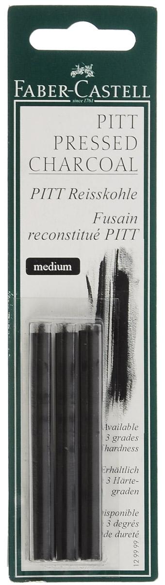 Faber-Castell Прессованный уголь Pitt Monochrome Medium 3 шт129999Прессованный уголь Faber-Castell Pitt Monochrome от всемирно известной компании Faber-Castell (Германия) - это один из самых высококачественных продуктов мирового лидера по производству графических материалов. Прессованный уголь изготавливается из угля, сажи и глины. Он передает самый точный оттенок черного, который вы только сможете найти. Прессованный уголь, в отличие от натурального, не такой сыпучий, им нельзя рисовать контуры на холсте, он не стирается с холста или картона, и предназначен в первую очередь для создания самостоятельных картин углем: портретов, пейзажей, натюрмортов. Картины будут очень насыщенными, так как прессованный уголь дает достаточно толстую, мягкую и насыщенную линию. Лучше использовать прессованный уголь как самостоятельный художественный элемент. Степень твердости: Medium. В комплекте 3 угольных стержня.